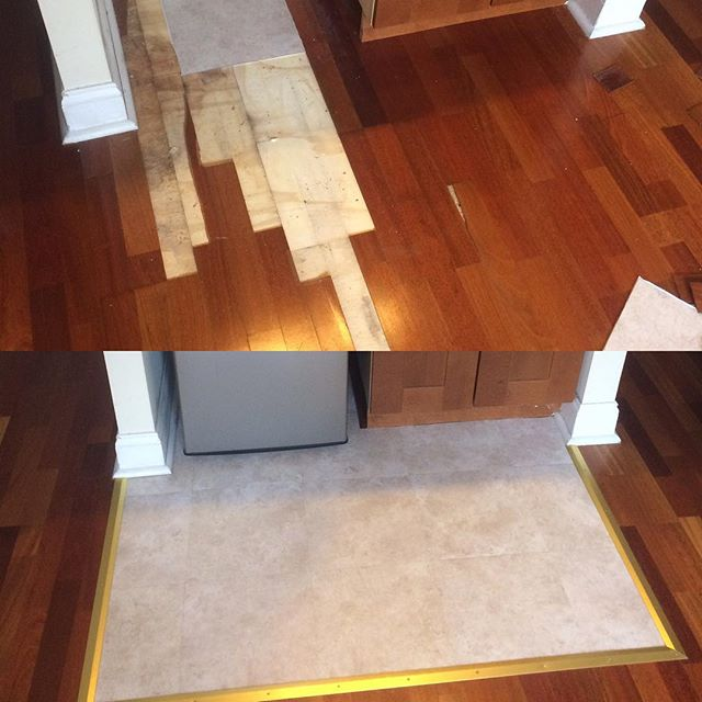 Before and after - flooring repair