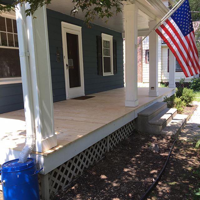 The south jersey crew knocked out this porch refinishing job Thursday and Friday of last week. The old flooring was pulled, we added extra framing and joist hangers to improve on the original framing (probably from the early 1900s), and installed new flooring. • • • Does your deck or porch need to be repaired or restored? Shoot us an email or call us for your free estimate! • • • #builtbybrightstar #keepcraftalive #southjerseyhandyman  #southjerseycontractors #carpenter #collingswoodnj