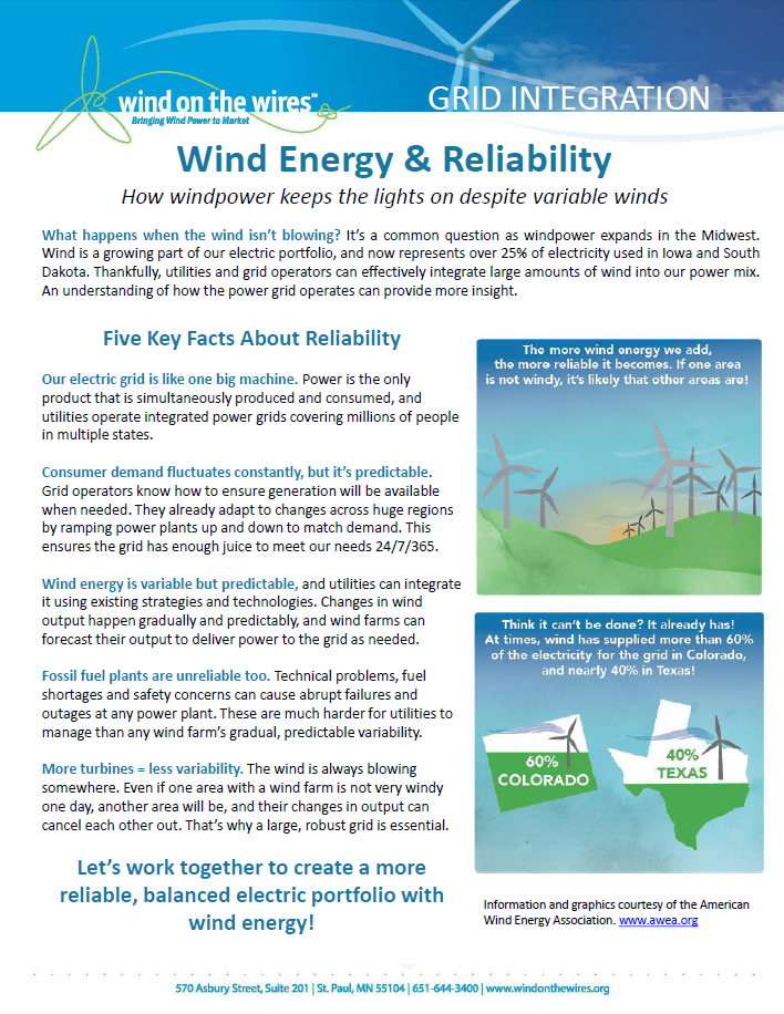 Wind Energy & Reliability