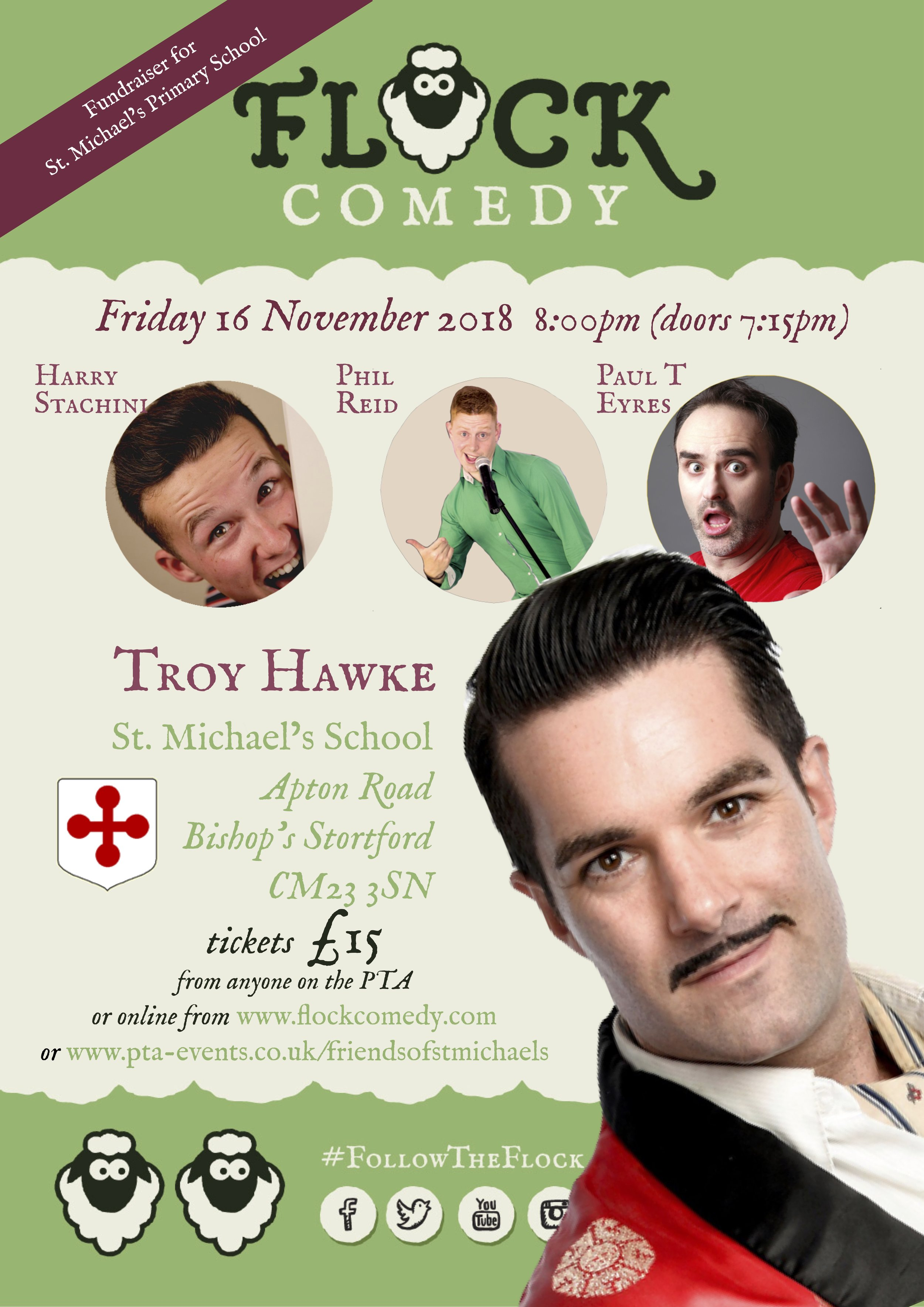Flock Comedy returns to Bishops' Stortford with Troy Hawke, Paul T Eyres and Harry Stachini