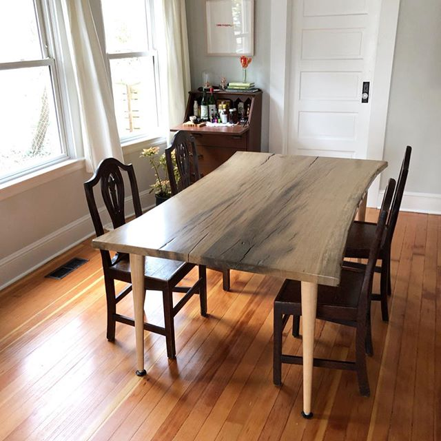 "As we joined, smoothed and shaped these slabs of reclaimed Oregon white oak into a table for our dear friends over the past six weeks, it became overwhelmingly clear to us that wood is so much more than building material. As Hope Jahren says so well, ""A tree's wood is also its memoir."""