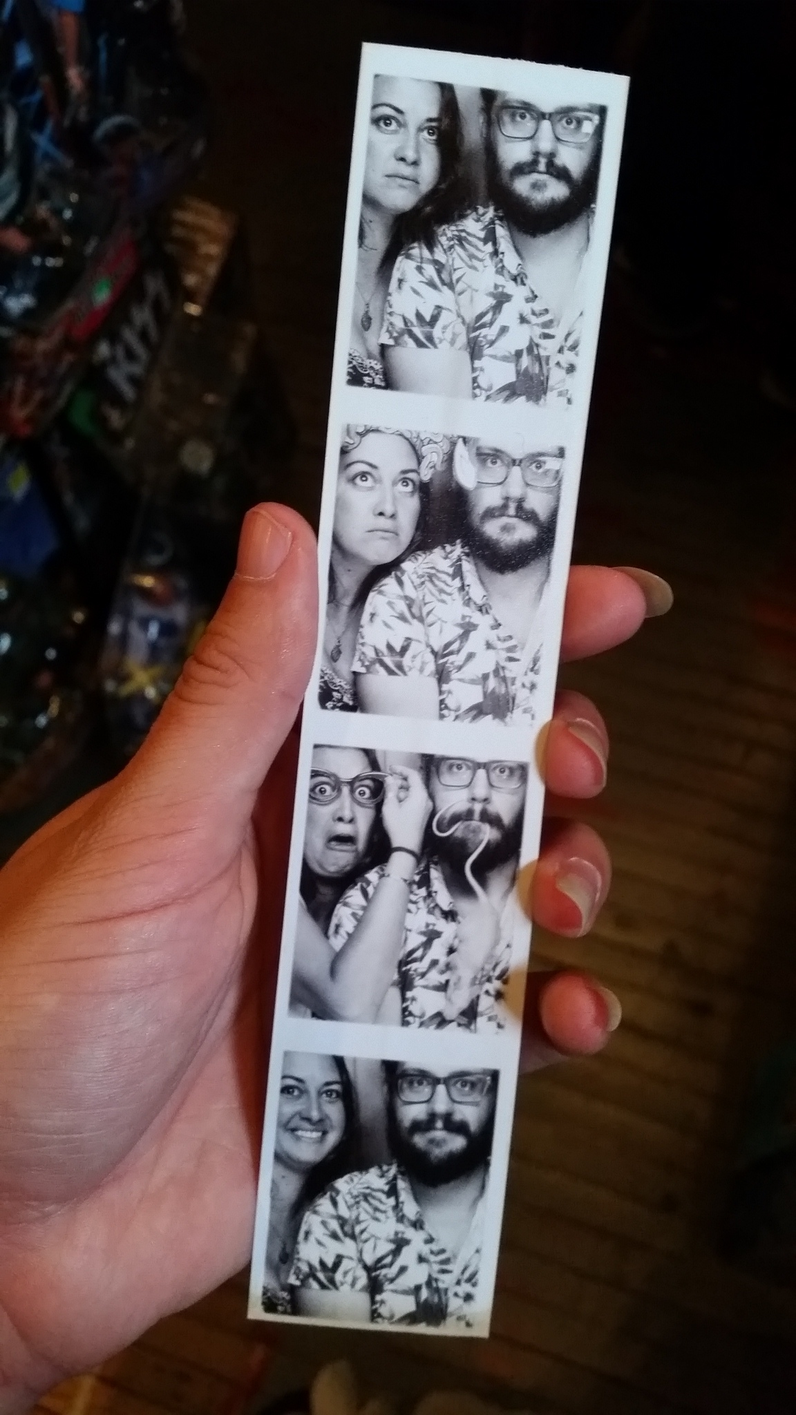 We get our photo taken in a vintage photobooth in Columbus
