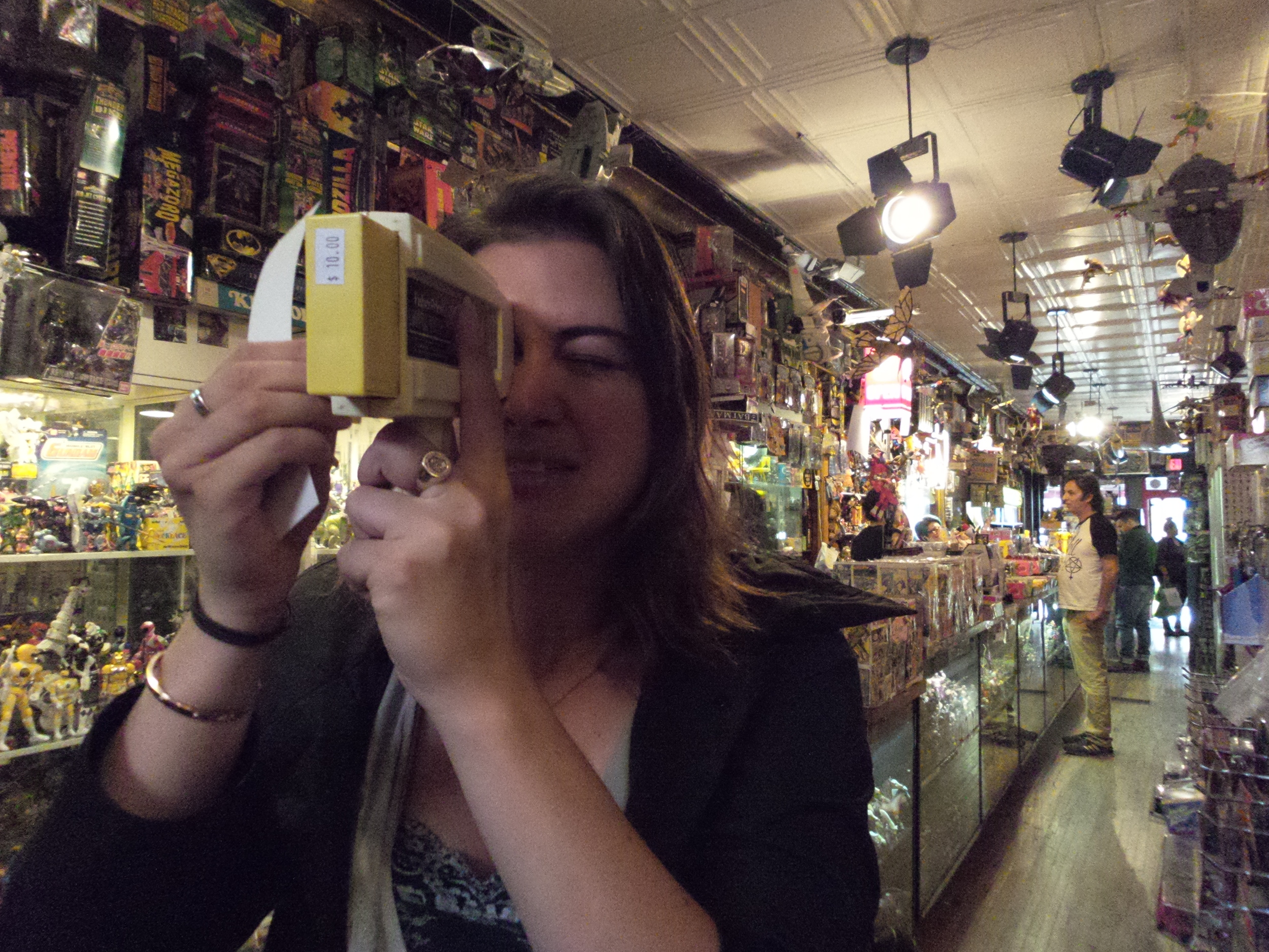 Jenny buys her cousins' kids a vintage toy in a Short North toy shop (Columbus)
