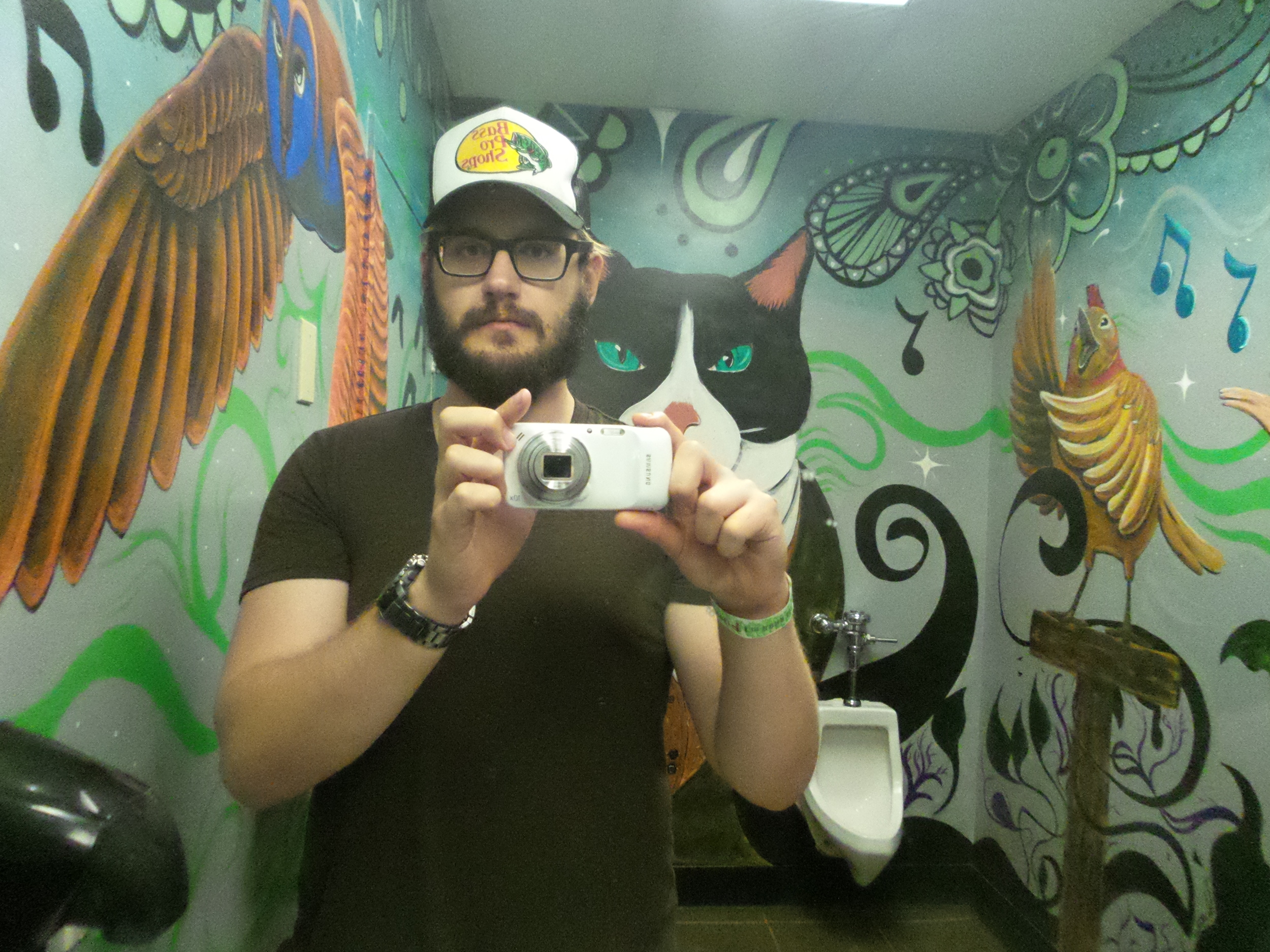 Jason enjoying Natalie's Coal Fired Pizza's bathroom during a live music show (in Columbus performed by Jon Lampley)