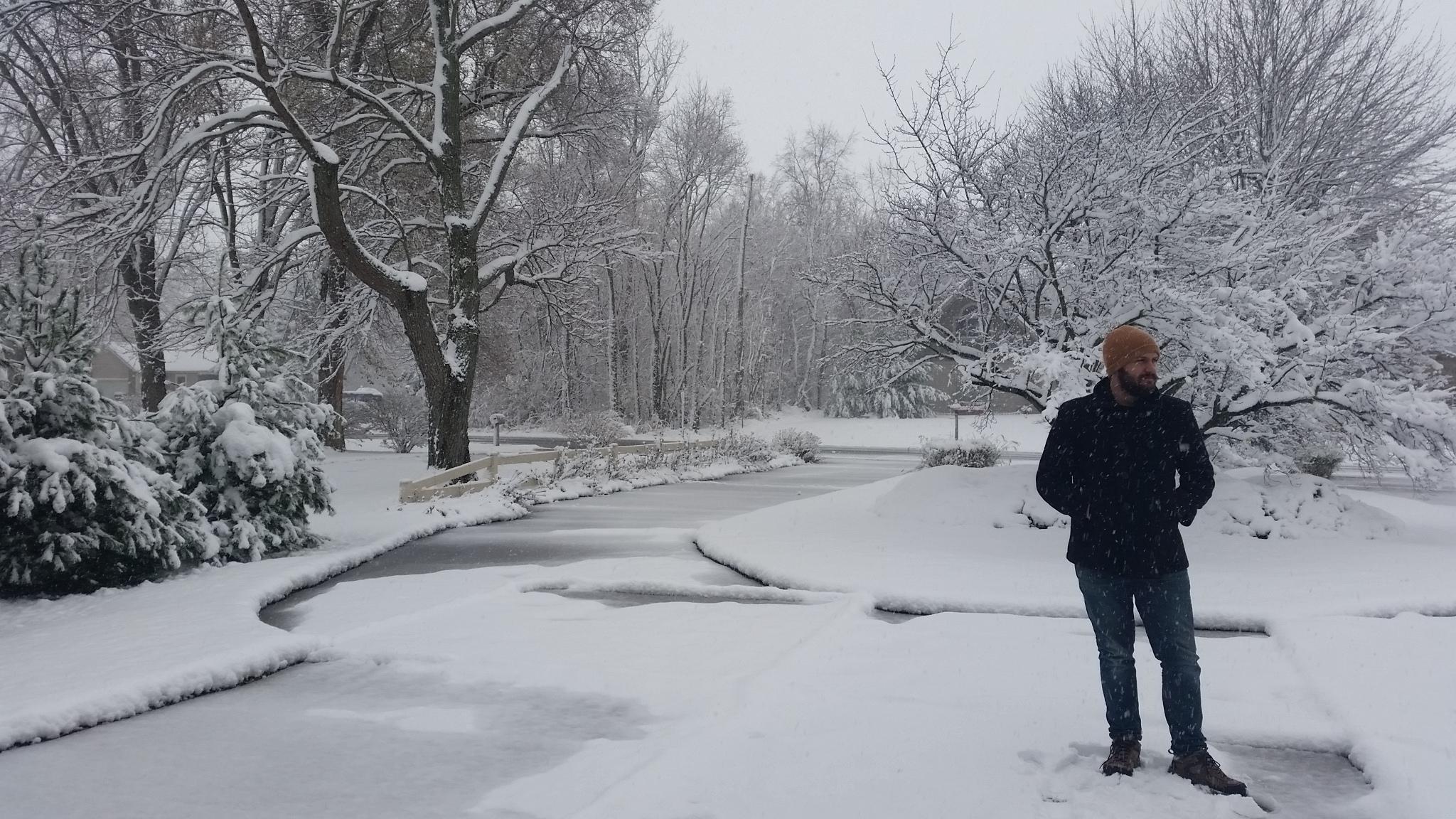 Jason's first snowy winter ever!