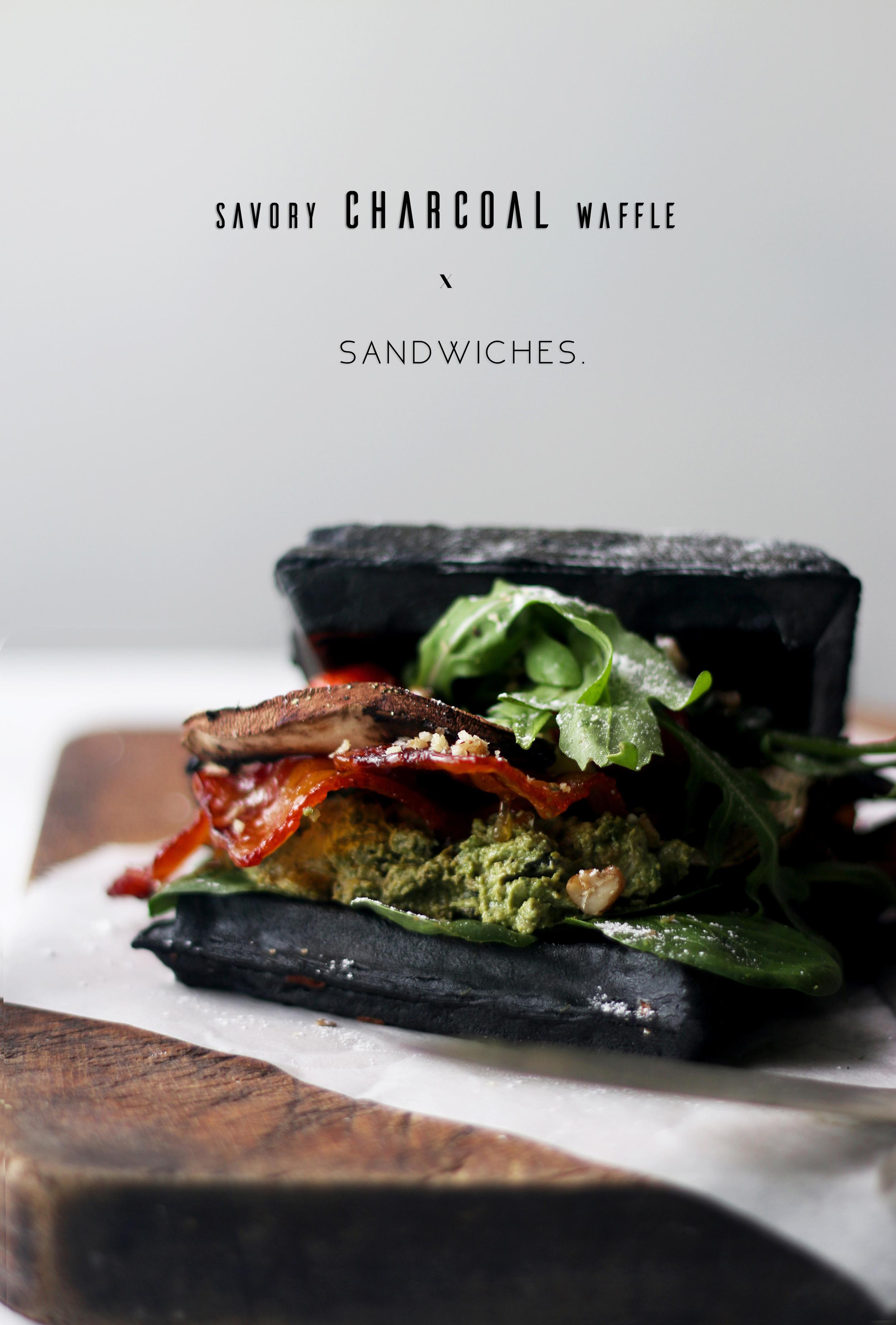 Savory Charcoal Waffle Sandwiches