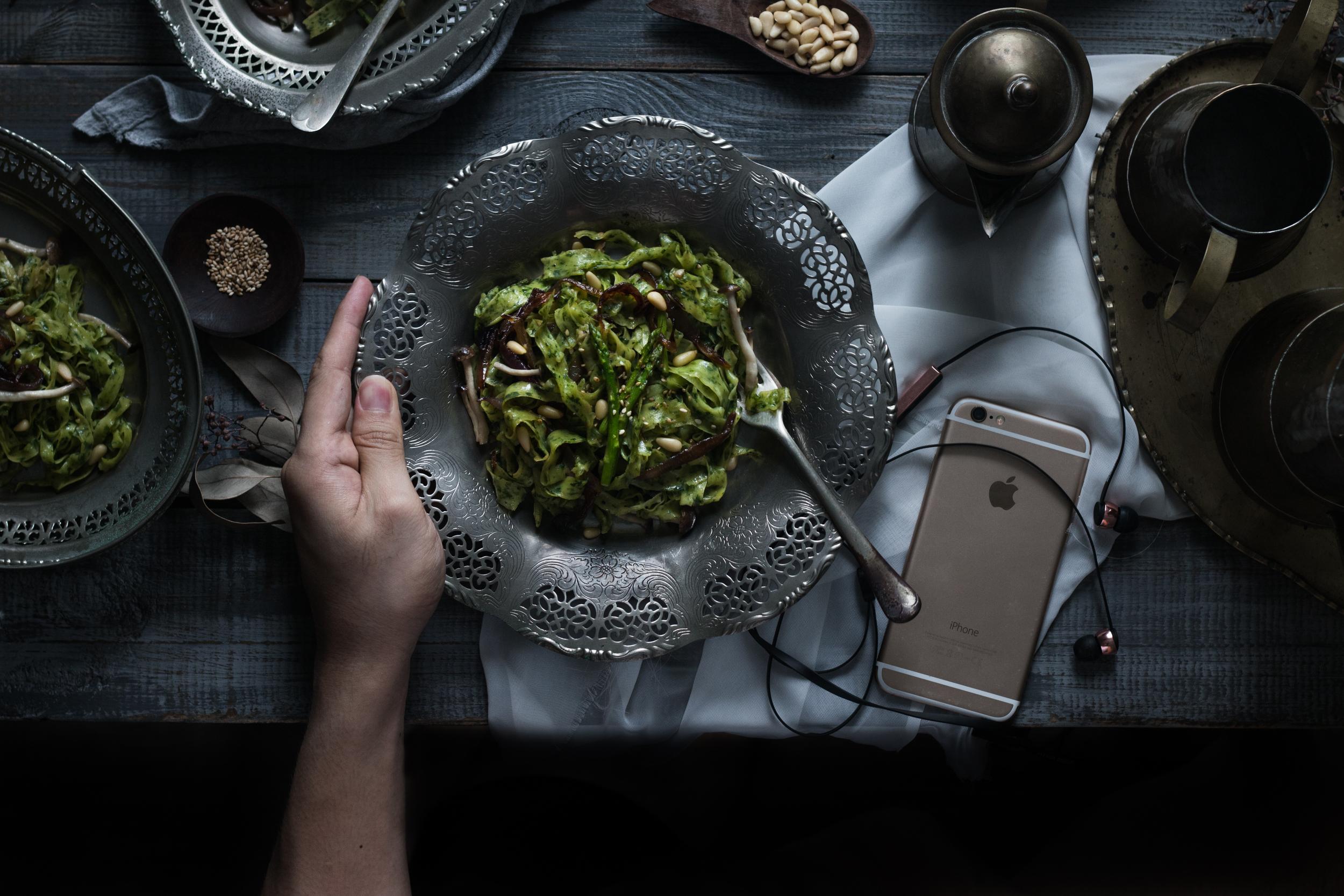 Fresh Kale Pasta w/ Tahini Vinaigrette