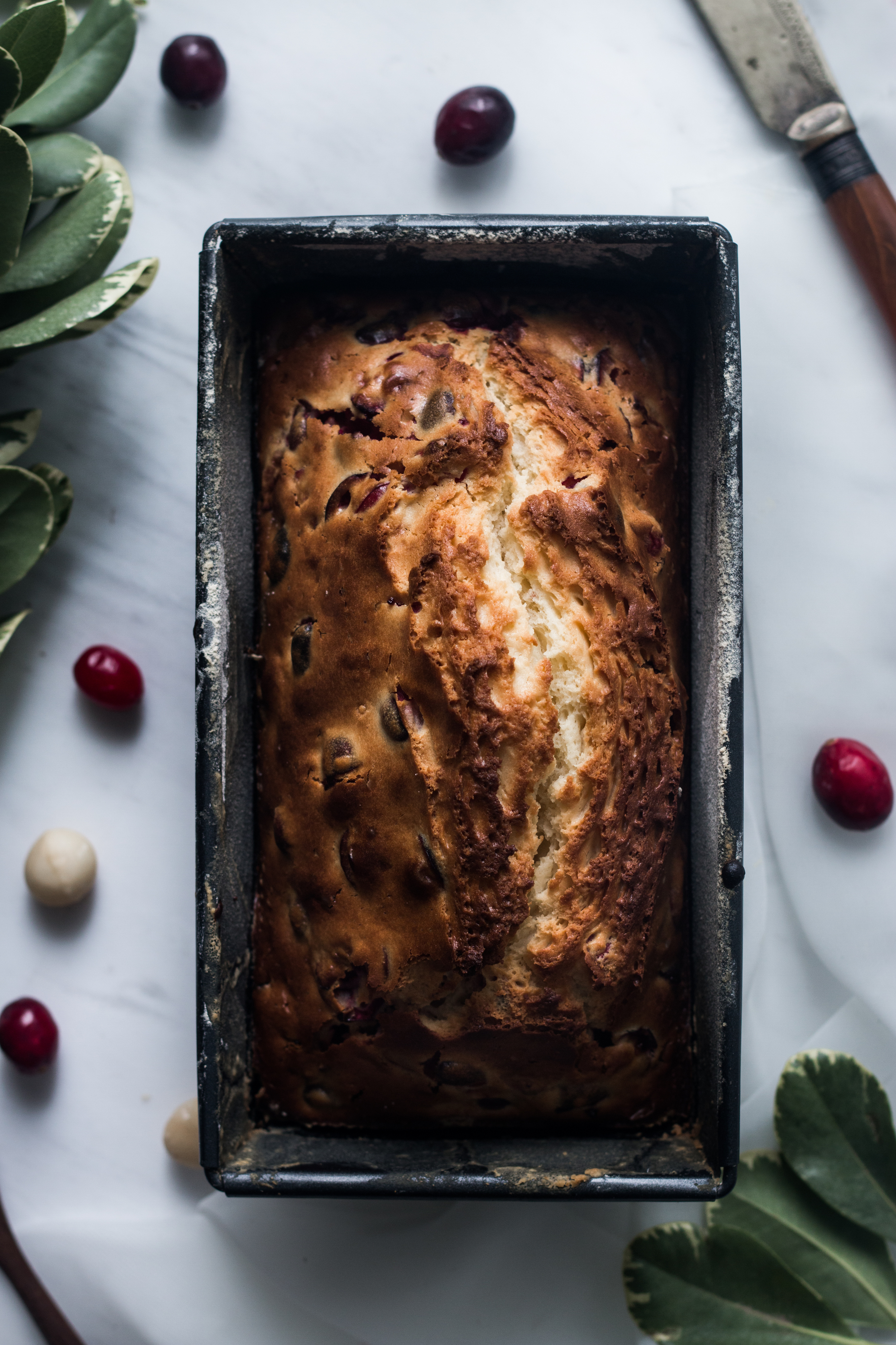 Cranberry Milk Loaf w/ Roasted Honey, Thyme & Cardamon Pear