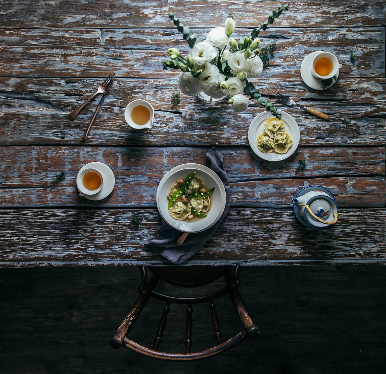 Homemade Ravioli w/ Scallop, Chives, Gobo & Ricotta Stuffing