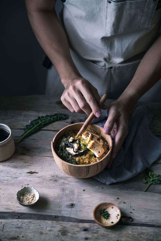 Curry MultiGrain Porridge w/ Vegan Pesto