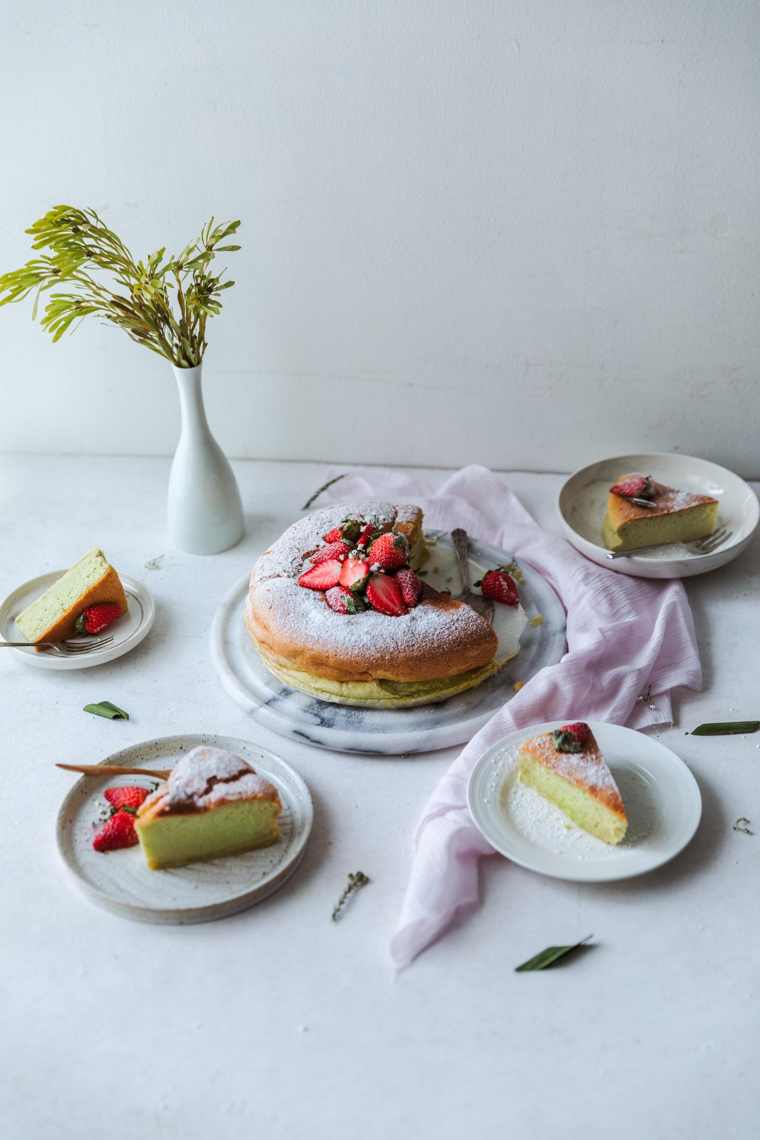 Pandan Cotton Cake w/ Fresh Strawberries