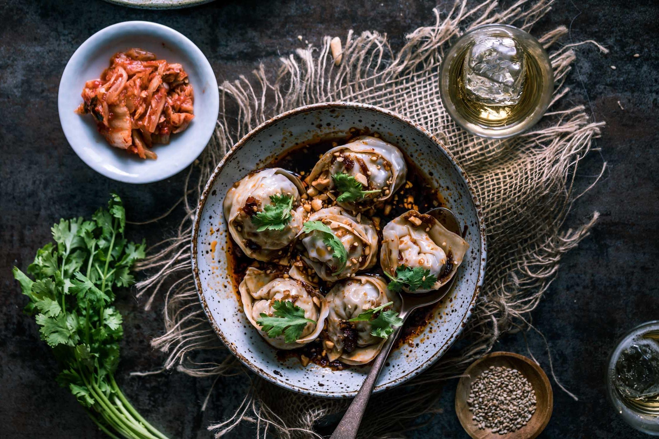 Kimchi Tofu Mandu in Sze Chuan Vinaigrette