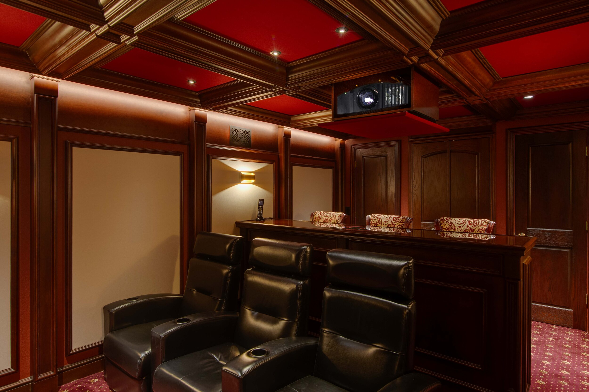 Custom Home Theater With Fiber Optic Inlaid Bar Top Millennium Systems Design