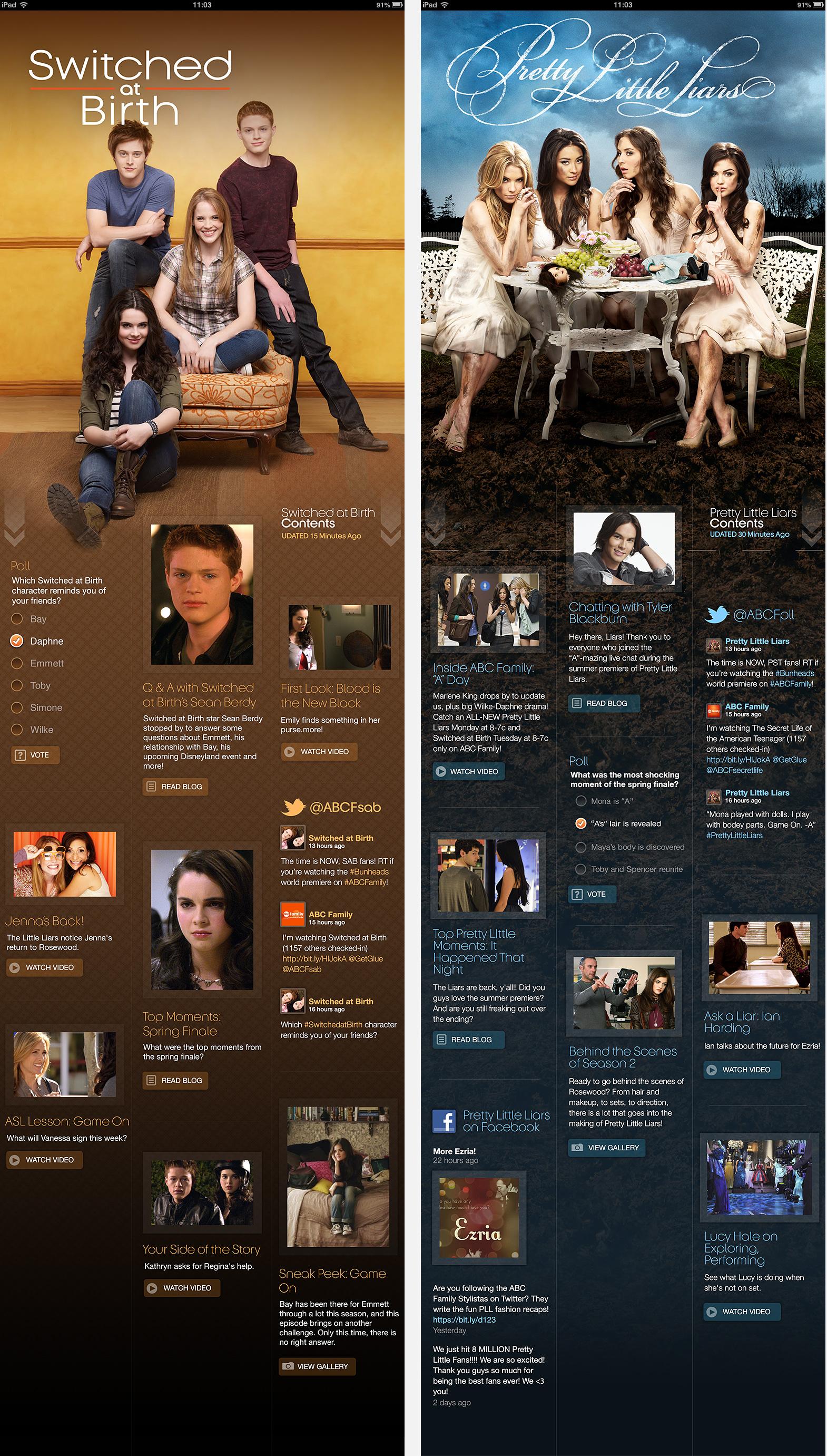 ABC Family Fanzine concept - iPad comps
