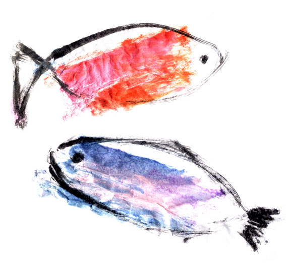 Dana's original painting of 2 fish - BIG and BOLD