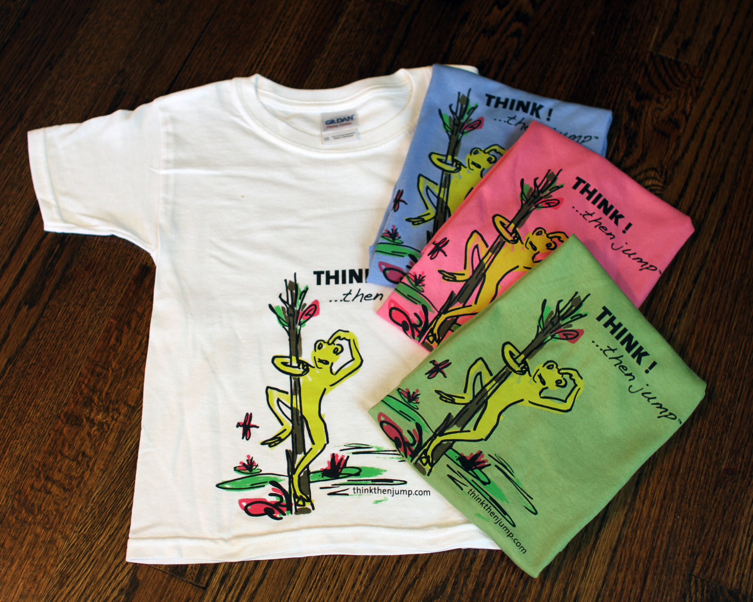 """Our """"think""""shirts are hand-dyed 100% cotton and pre-washed.  Note:Sizes run big.(XS: 15.5W/19.5L)(S:1 6.5""""W/21""""L)(M: 18""""W/22.5""""L)"""