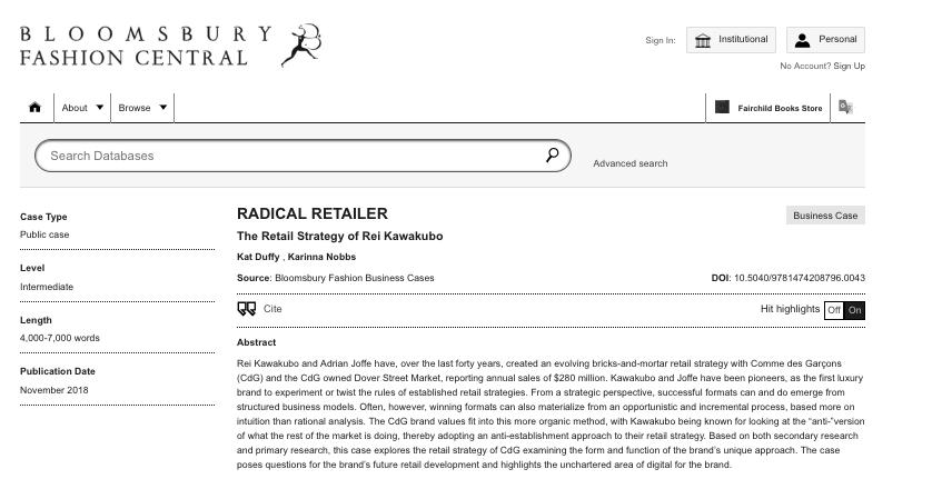 CO-AUTHOR: Rei Kawakubo - Radical Retailer Bloomsbury Case Study