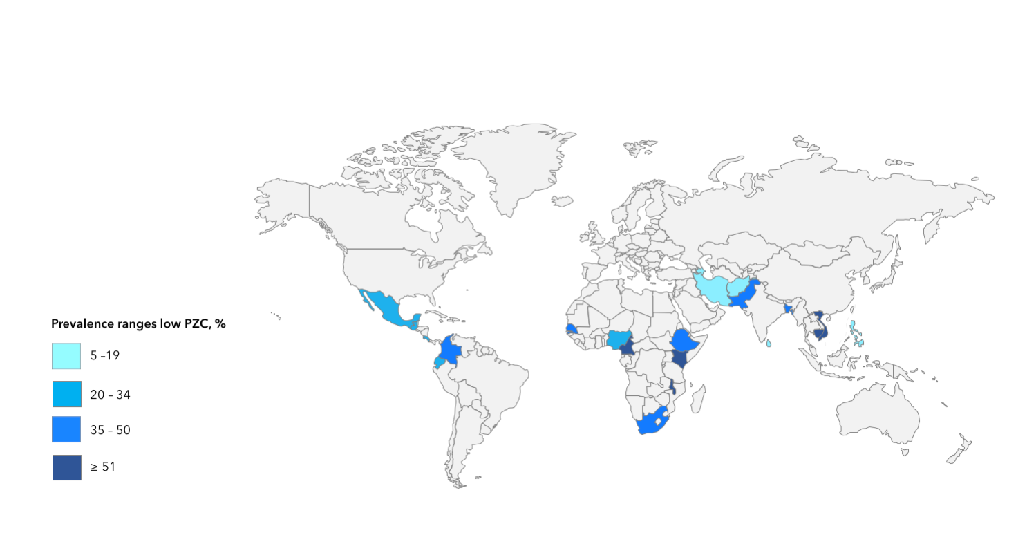 Map generated from data in the World Health Organization's Vitamin and Mineral Nutrition Information System Micronutrients Database (https://www.who.int/vmnis/database/en/)