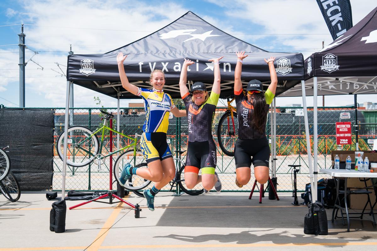 Michele Blackburn, Caden Stergius and Lorena Oblitas pose for the podium