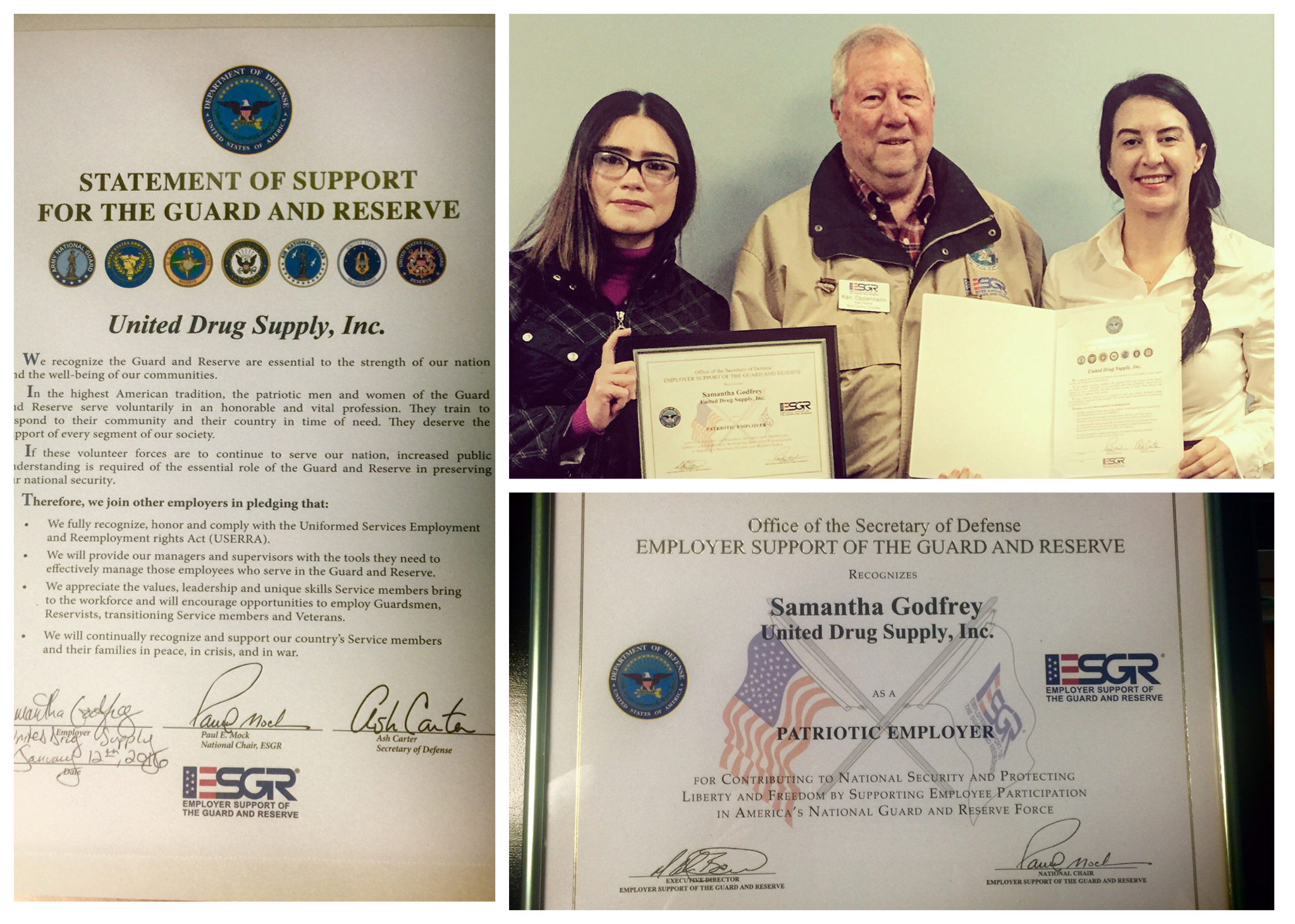 Upper right photo pictured left to right: Petty Officer Maria Montoya, United States Navy Reserve, Ken Oppenheim, ESGR, and Samantha Godfrey, United Drug Supply CEO