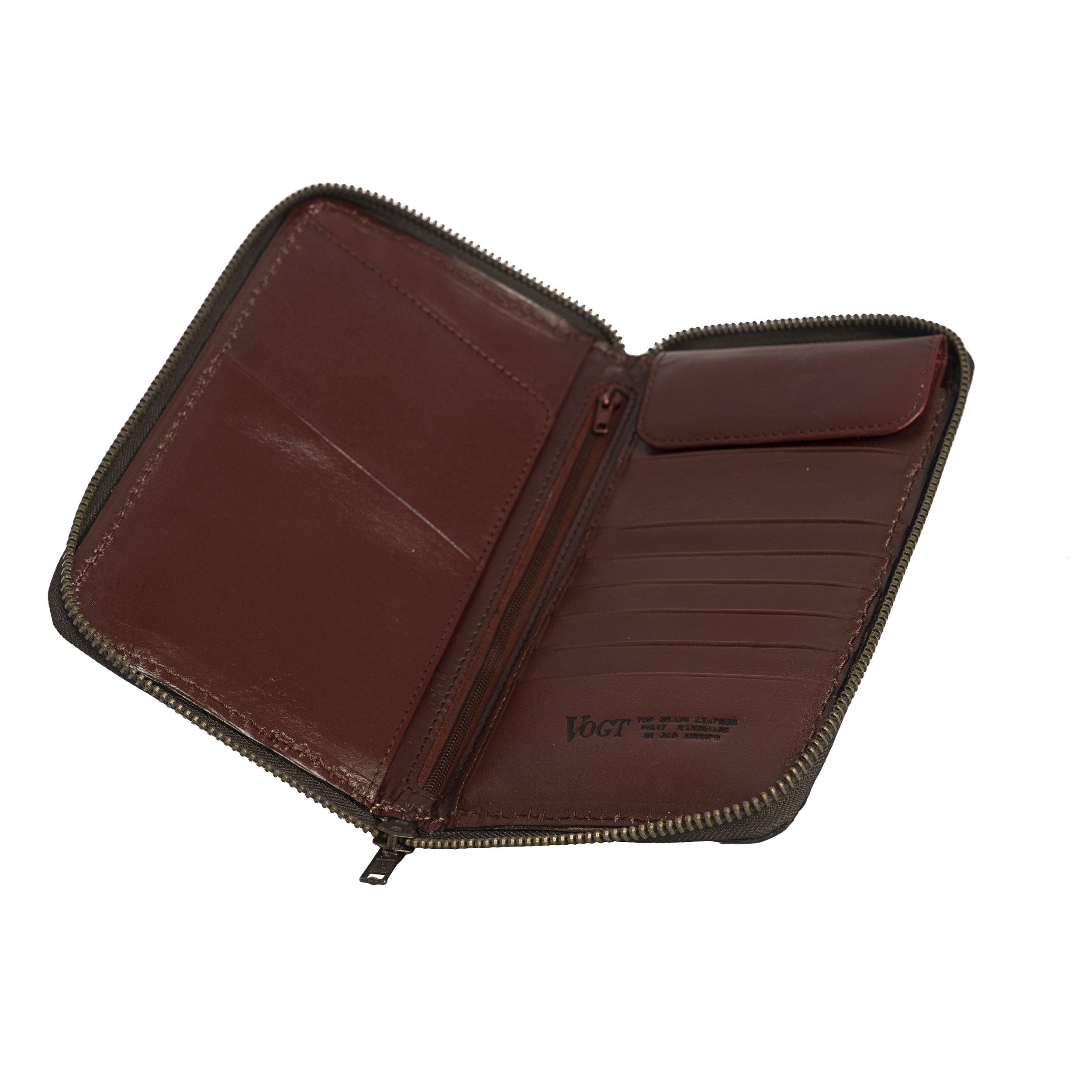 fully tooled merlot passport wallet interior -