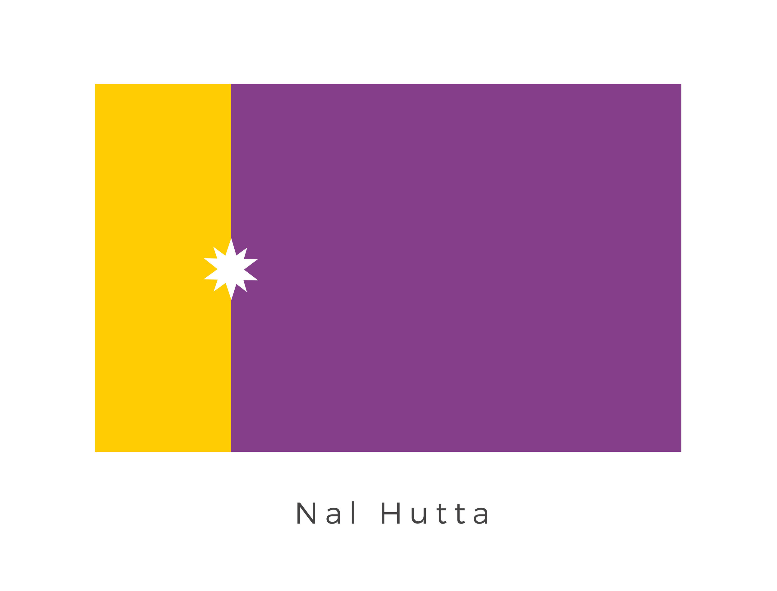 Nal Hutta  (Glorious Jewel in Huttese), also known simply as Hutta, was the capital of Hutt Space and was located in the Y'Toub system. It was formerly known as Evocar and was the original home world of the Evocii, who were ousted by the Hutts in 15,000 BBY, who migrated from their original home world of Varl along with their servants the t'landa Til. The planet was controlled by the ancient ruling Hutt families, who also ruled its moon Nar Shaddaa from Nal Hutta. The purple and gold of the flag represents the ancient ruling Hutt families while the star symbol represents the planet itself.