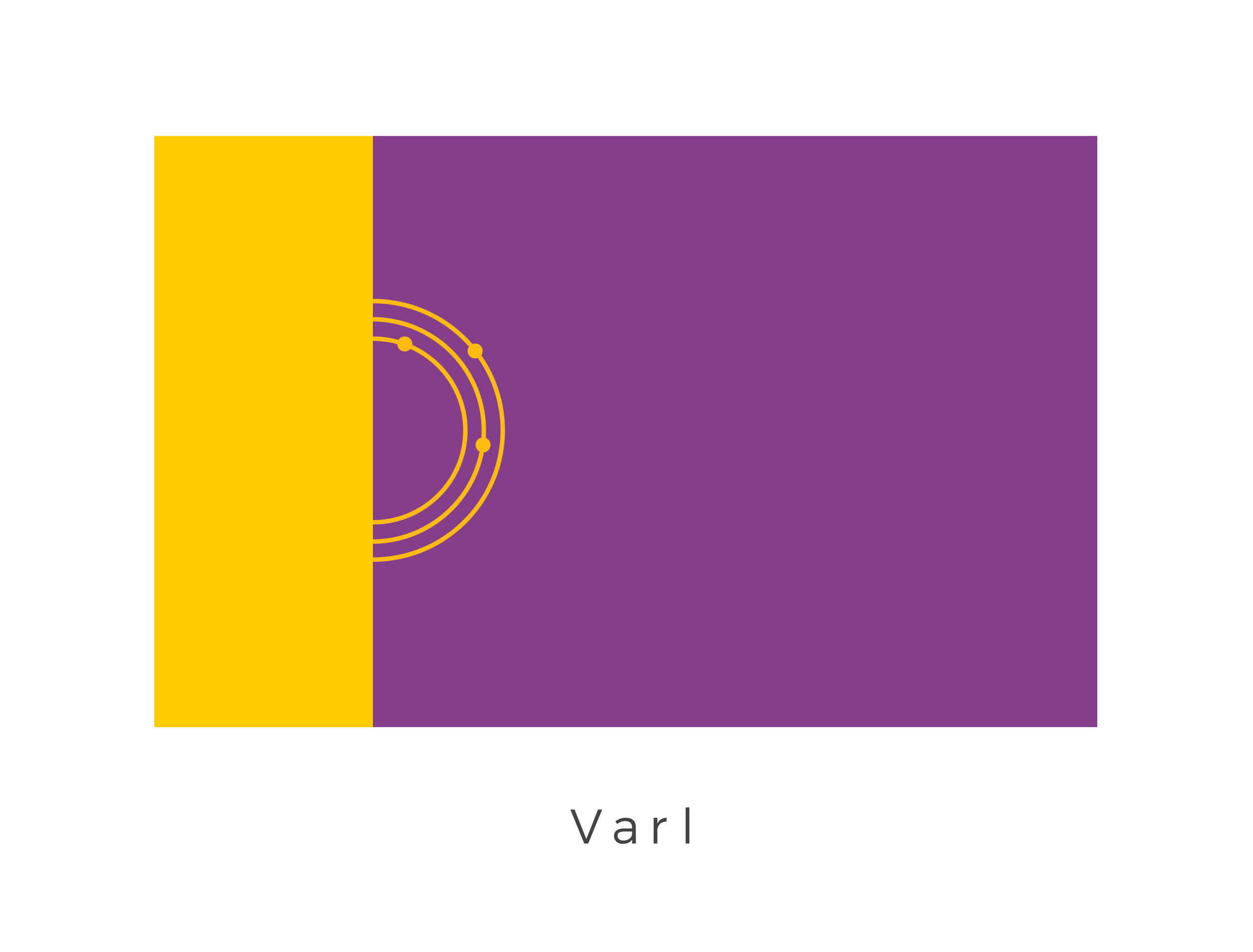 Varl  was the original home world of the Hutts, t'landa Til, and possibly the Rybets. According to Hutt legend, it was devastated in a cataclysm that vaporized its atmosphere and obliterated its moons, as well as all other planets in its star system. The flag is similar to that of the other Hutt planet Nal Hutta, with the purple and gold strip being the early colours of the Hutts. These later changed to red, white and black. The three rings of gold represent the mythology the Hutts created around their creation on the planet.
