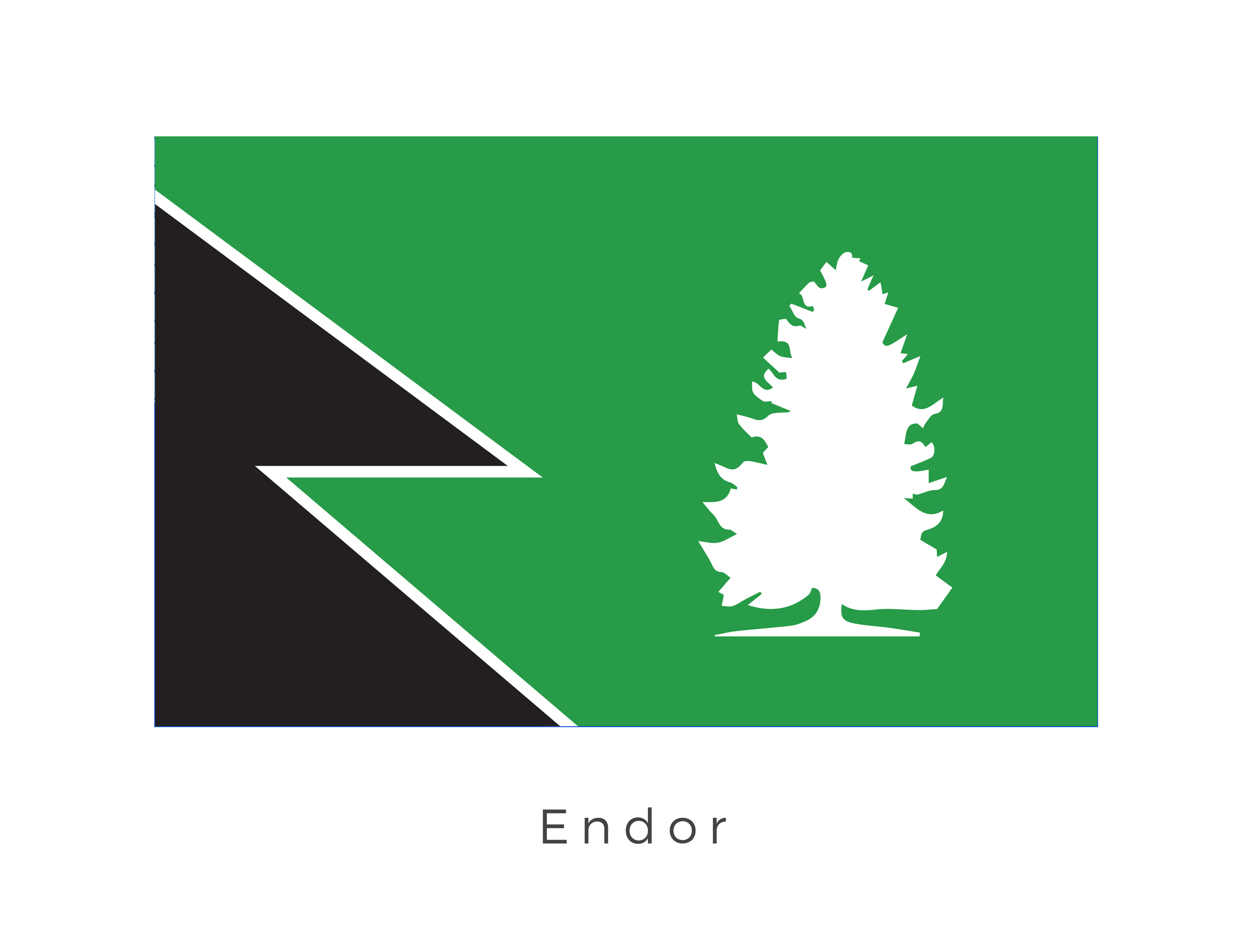 Endor  (also known as the Forest Moon of Endor and the Sanctuary Moon) was a small forested moon located in the Outer Rim Territories and the homeworld of the Ewok species. The green and black tribal graphics are that of the Ewok while the tree graphic represents the main major city: Bright Tree Village.