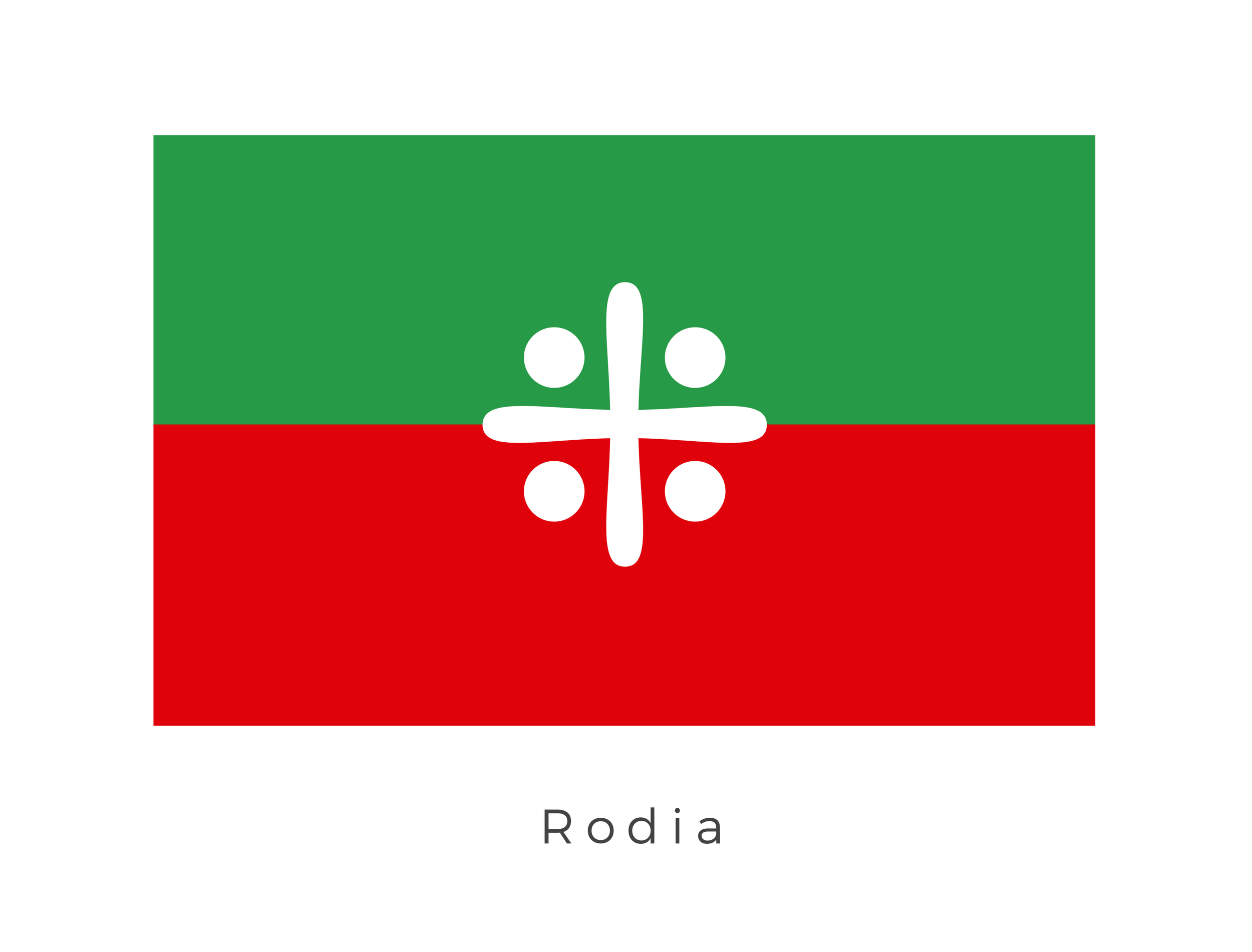 Rodia  was a remote swampy, jungle planet and the homeworld of the Rodians. Cities on Rodia were encased with domed environmental shields that allowed entry and exit for vehicles and vessels. The red and green bands represent these environmental domes which protect the population from the atmosphere while the white icon is that of the The Grand Protector. The Grand Protector being the leader of Rodia and the Rodian race.