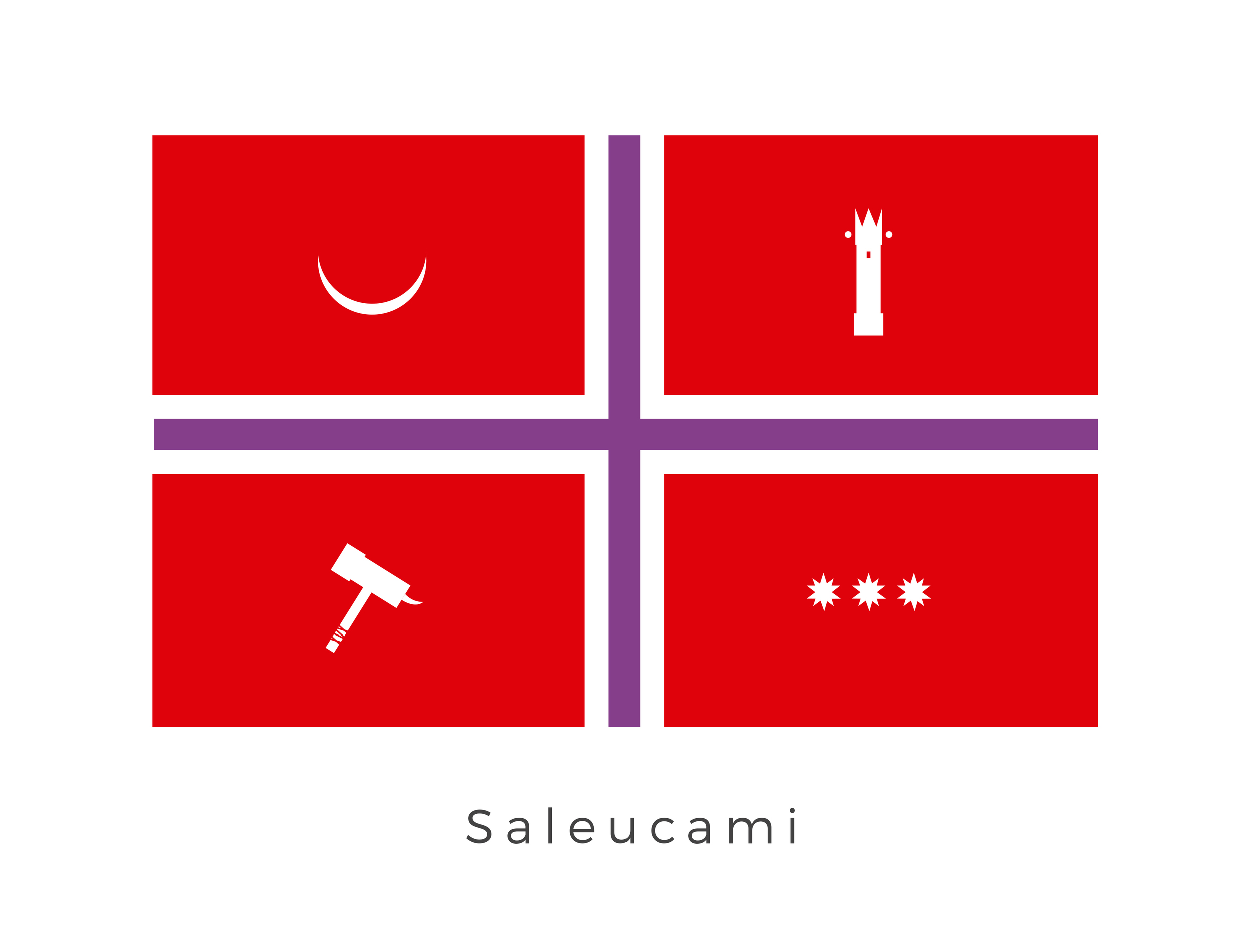Saleucami  was a dim, arid Techno Union world with scattered caldera oases filled with vegetation. Its plant life included unusual bulbous trees. It was located between Kegan and Handooine. The colour red is the primary colour of Saleucami as it represents the flowing magma which lies just below the surface of the planet. This powered the cities and was a significant factor in the planets economic success as well as its desirability for colonists and conquerors alike. The planet has a long and divided history, with the current design being a modern attempt to reference what are considered the most important periods in the planets history. This has been achieved by using a purple and white 'bandage'. The purple and white colours represent the bubse tree, its healing properties signifying the healing wounds between these different periods. The spiked hammer signifies the Colonization Period when the Wroonians colonised vast areas of the planet from 6100BBY. The tower represents the period known as the Commerce Period in which Saleucami came under the power of the Techno Union. The three star formation represents the period known as the Alliance Period. This was when Saleucami aligned itself politically with Felucia and Mygeeto. Slanderously called the Triad of Evil. The half moon represents the Prophecy Period. This was the period of time when a Force sensitive female Itkotchi who rose to power as a cult leader.
