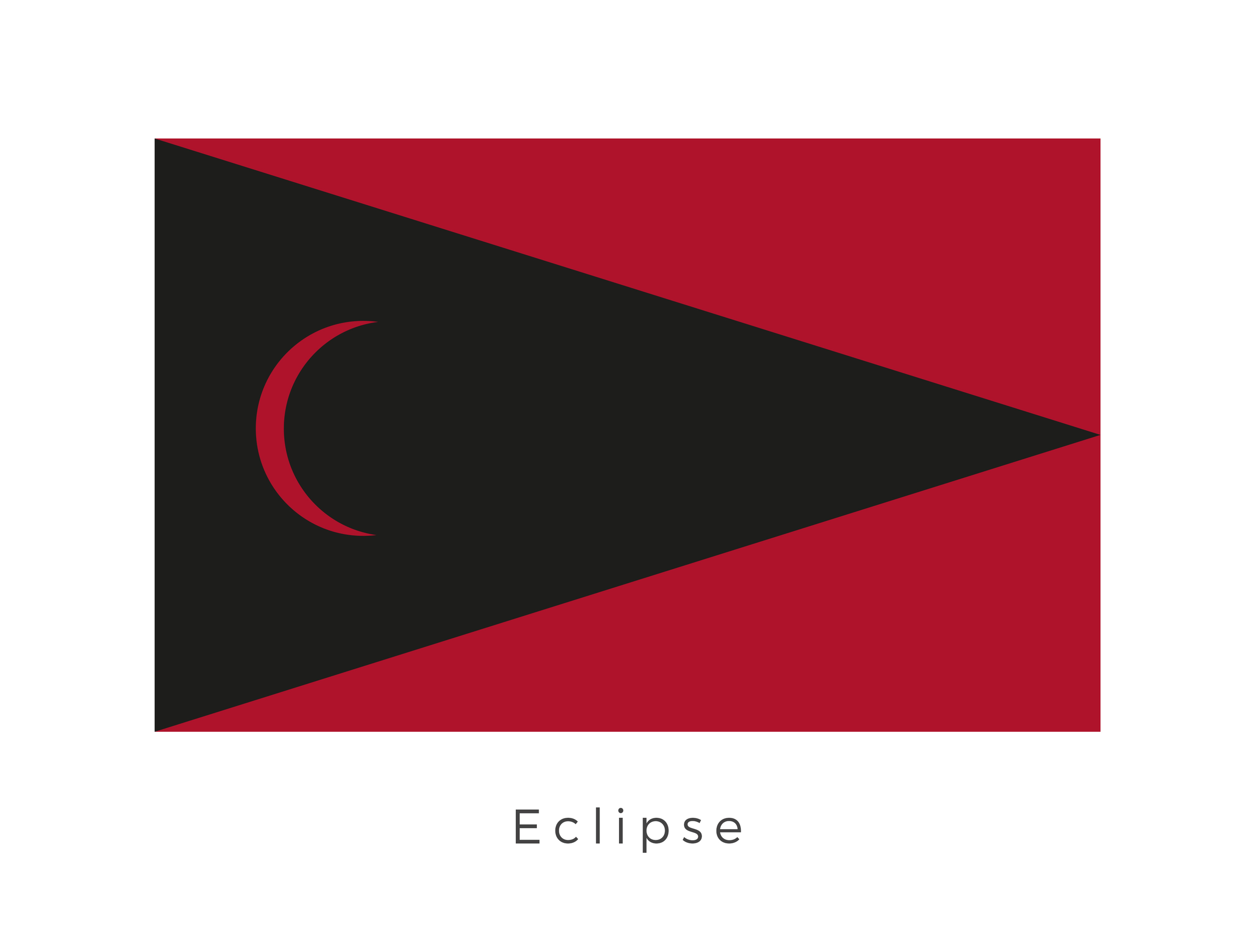Eclipse  was a planet in the Deep Core, hidden in an asteroid field. The deep core was not easily accessible and so the inhabitants came to see themselves as living in the shadow of the asteroid field. The black chevron graphic in the flag design represents this belief. The red signifies the colour of the planet surface.