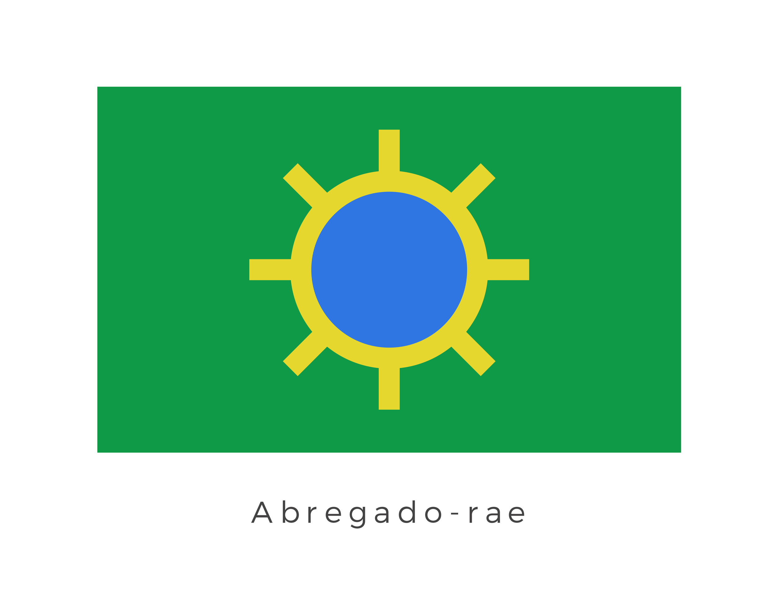 "Abregado-rae  was a major manufacturing and trade-oriented planet, sitting at the beginning of the Rimma Trade Route, and was also the starting point for the Shapani Bypass or the ""Bacta Run"". It's temperate climate was represented by the green surface of the flag as well as its blue centre. The yellow sun like graphic was in fact a signified of its main export - technology."