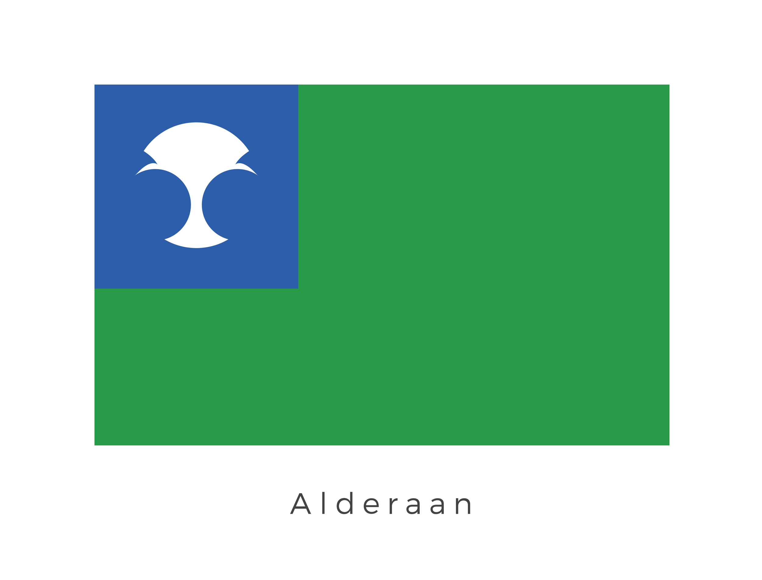 Alderaan , located in the Core Worlds, was the second planet in the Alderaan system. It was renowned galaxy-wide for it's unspoiled beauty, refined culture, and commitment to peace. Alderaanians worked with and around the land to preserve as much of their natural surroundings as they could, the green of the flag signifies this commitment. The white graphic was used on all products exported from Alderaan, signifying its quality and refinement. The deep blue is a nod to Alderaans long term support of the Galactic republic.