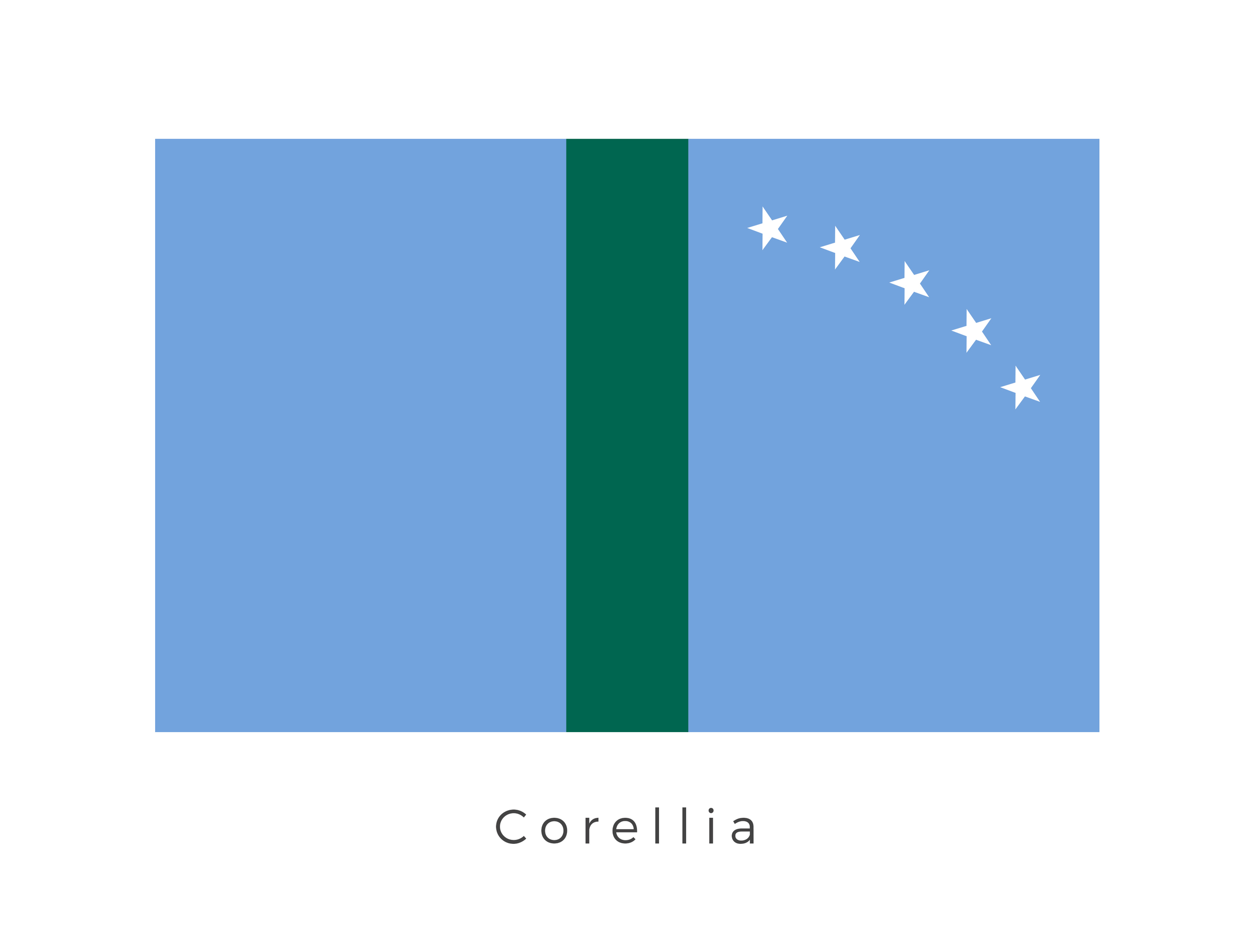 Corellia  was the capital planet of the Corellian system, which included Selonia, Drall, Tralus, and Talus. It was also the birthplace of smuggler and New Republic General Han Solo. The five plants are represented in the curved band of stars on the right hand panel of the flag. The green strip in the middle of the flag is thought to represent Corellians place among the first and foremost hyperspace explorers.
