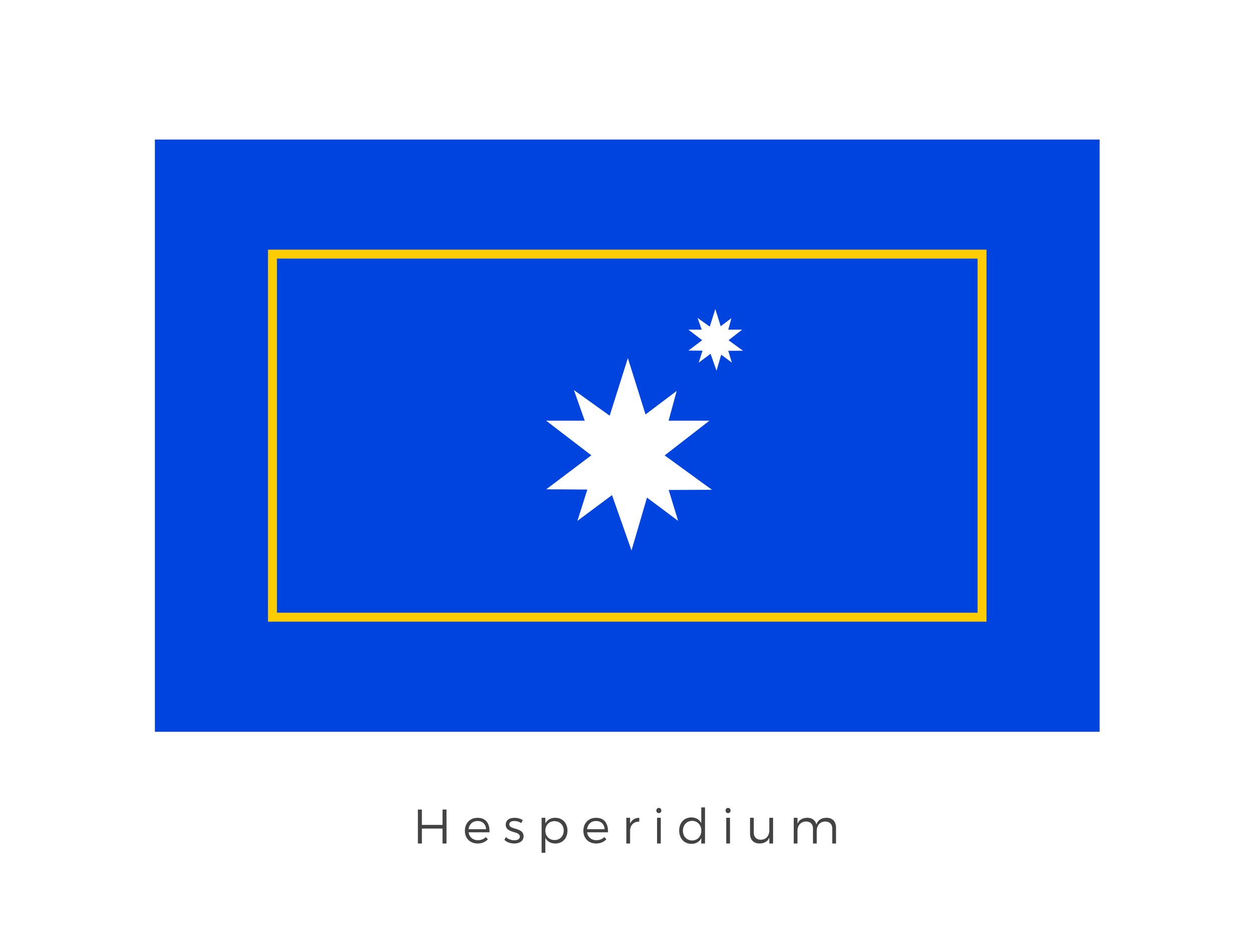 Hesperidium  was a luxurious resort moon that orbited Coruscant. It took its design form from Coruscant, with the star orbiting star graphic representing Hesperidium's relationship with Coruscant. The blue base colour as well as the gold band, signify the fact that Hesperidium comes under the economic and political domain of Coruscant.