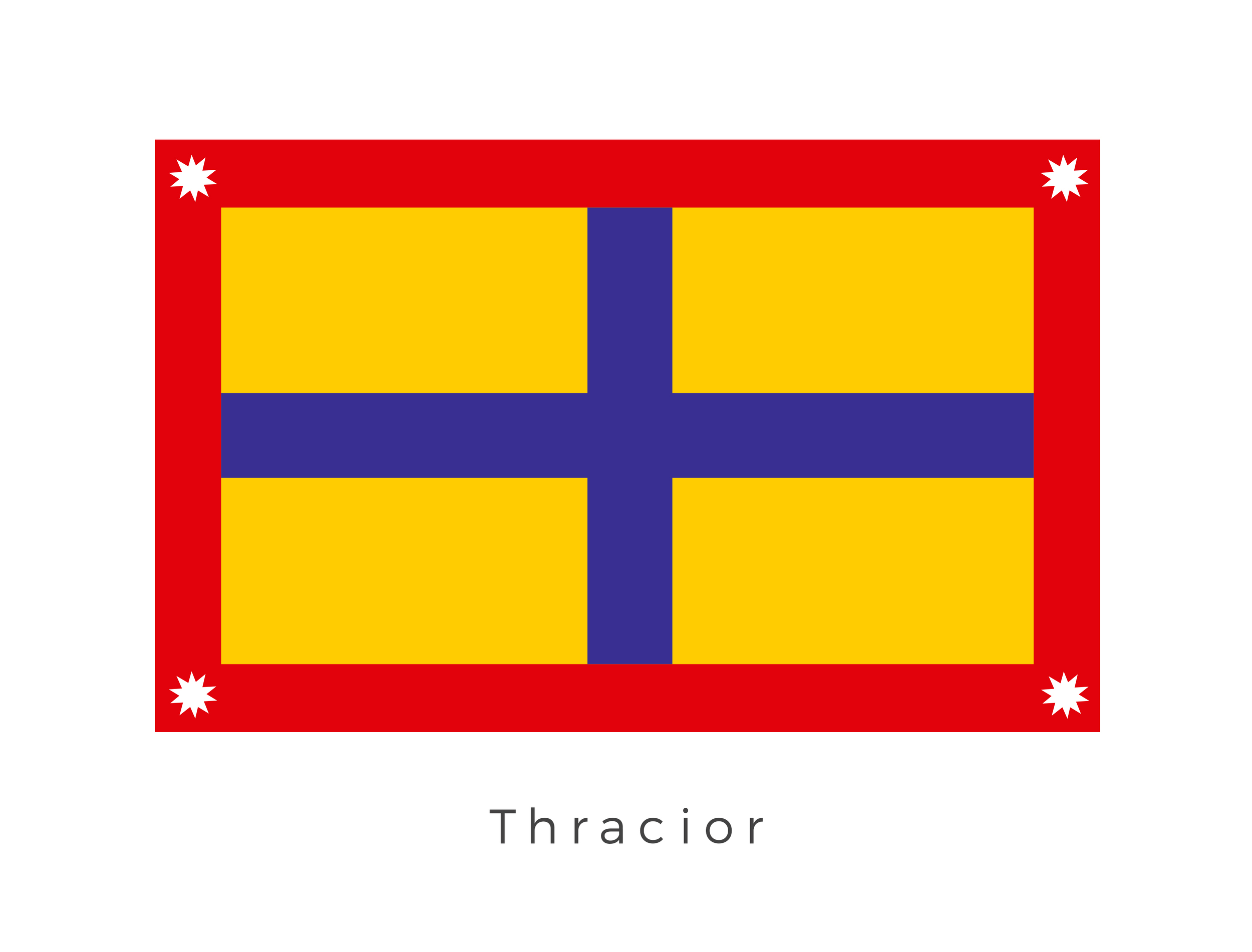 Thracior  was a planet located within the Thracior system of the Core Worlds. The planet was ruled by tribal Warlords. The four most prominent tribes are represented in the perfectly symmetrical design, with the blue cross and corner stars representing the area they individually ruled.