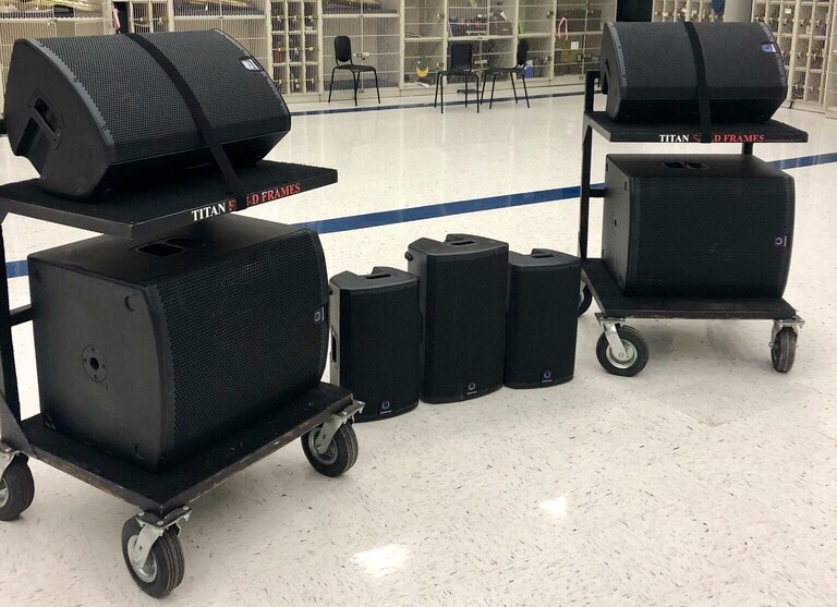 TurboSound Active Speakers - Titan Field Frames carts are optional.Available for pick up in Fort Worth, TXFor more information and pricing, please contact:jennebrauchle@gmail.com & tyler.orbison@icloud.com