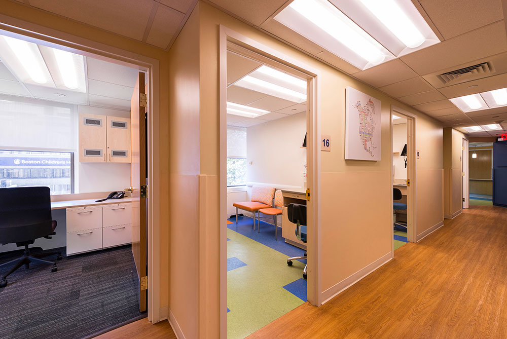 View into Team Room and Exam Room