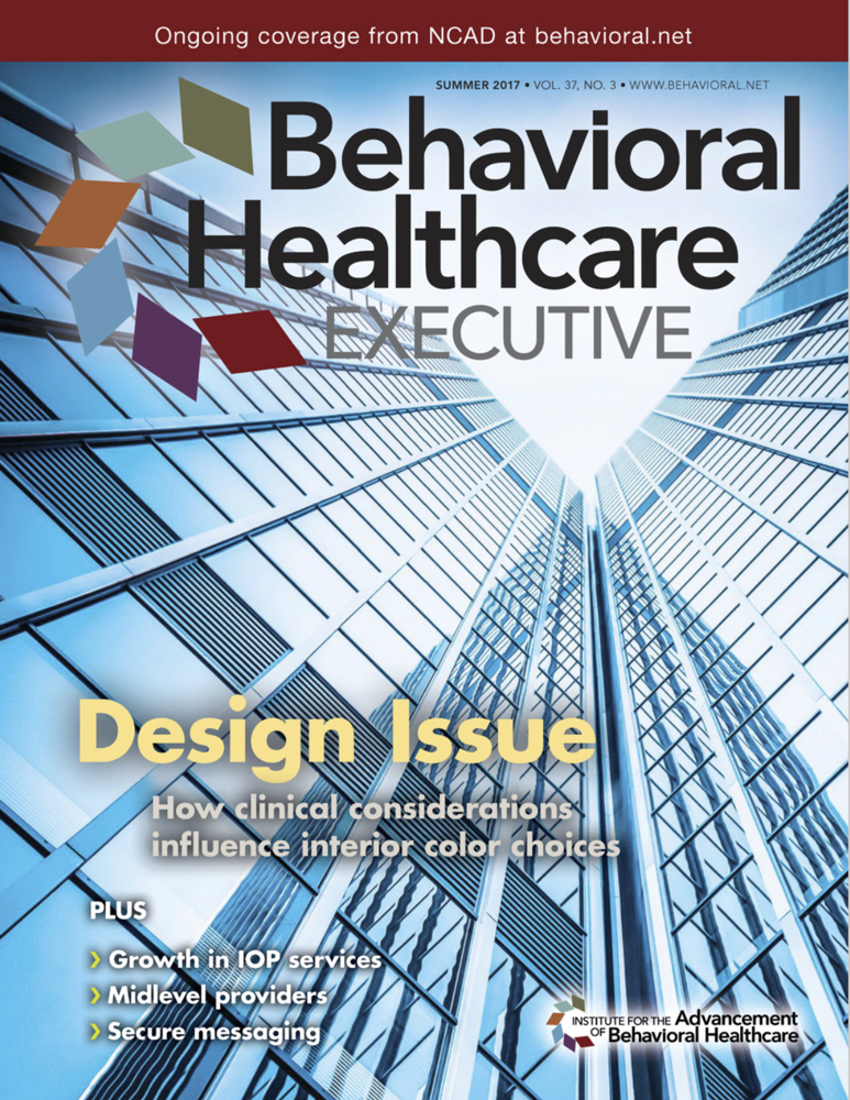 Behavioral Healthcare Executive Magazine  - August 2017  Article:   HOW TO EFFECTIVELY USE COLOR IN TREATMENT FACILITIES     in collaboration with Alicia Hoisington