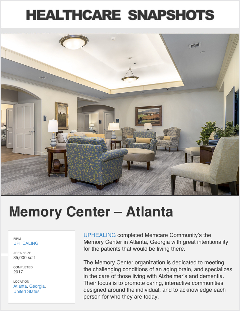 Healthcare Snapshots  - April 2019  Project Feature:   MEMORY CENTER ATLANTA
