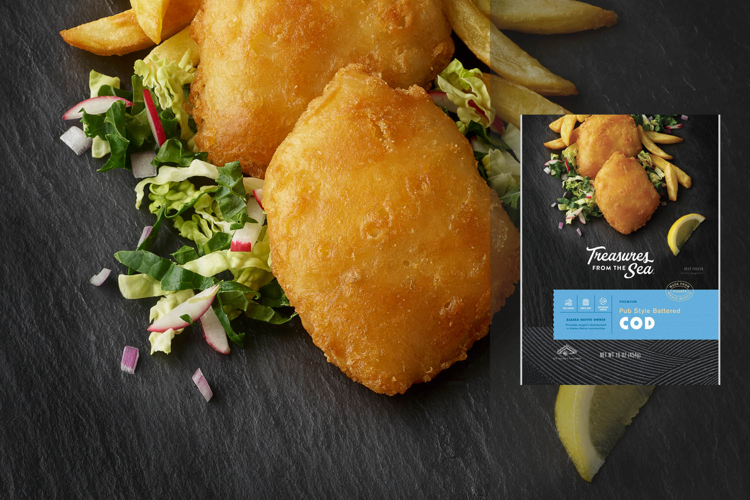 PUB STYLE BATTERED COD