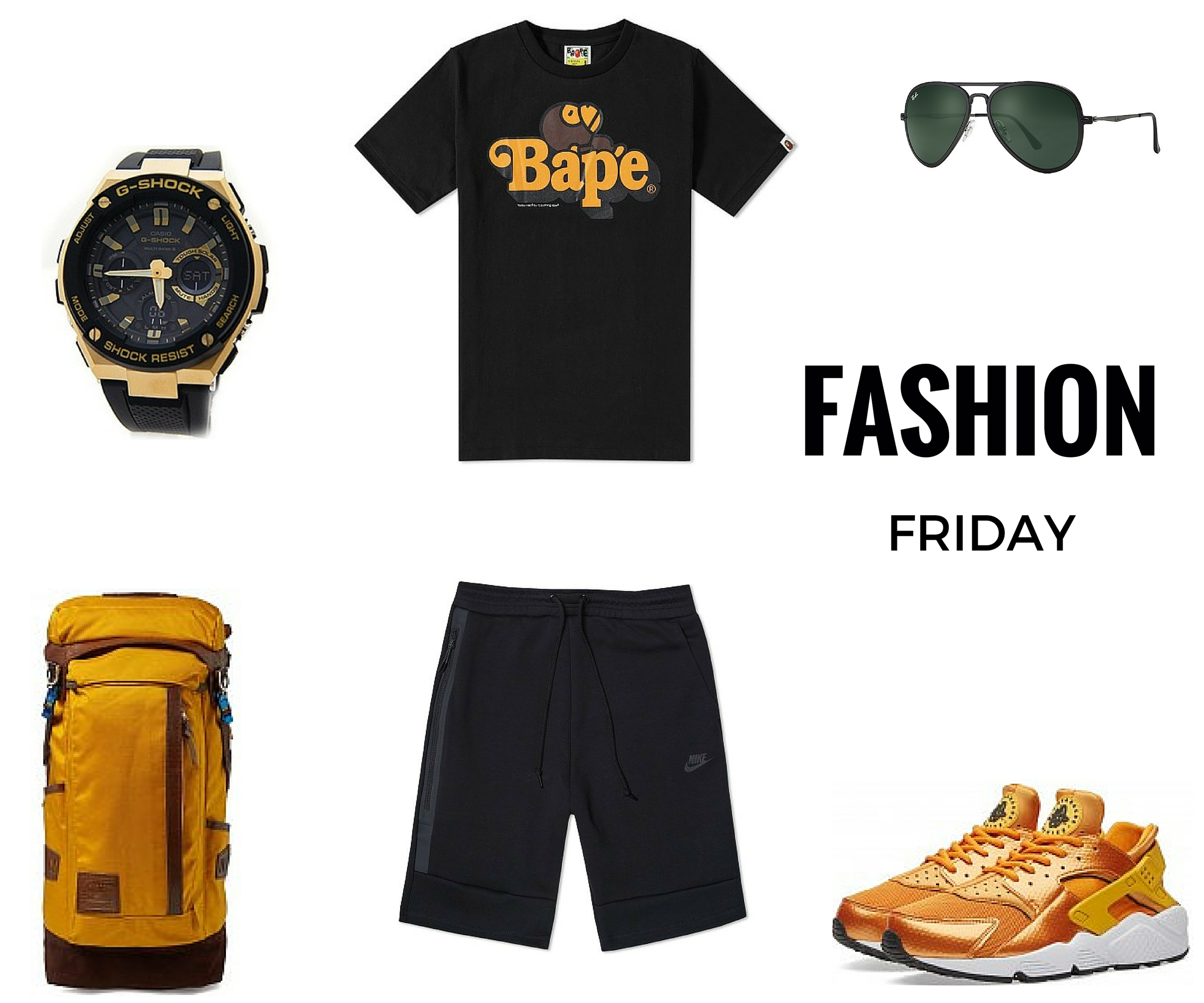 Thank God It's Friday! This week's picks are inspire by  Noah  it's a Father&Son thing.Have a Nice Weekend...   G Shock watch    Ape & Bape T-Shirt    Ray Ban Sunglasses    Master Piece Potenial Backpack    Nike Shorts    Nike Huarache Gold Edition