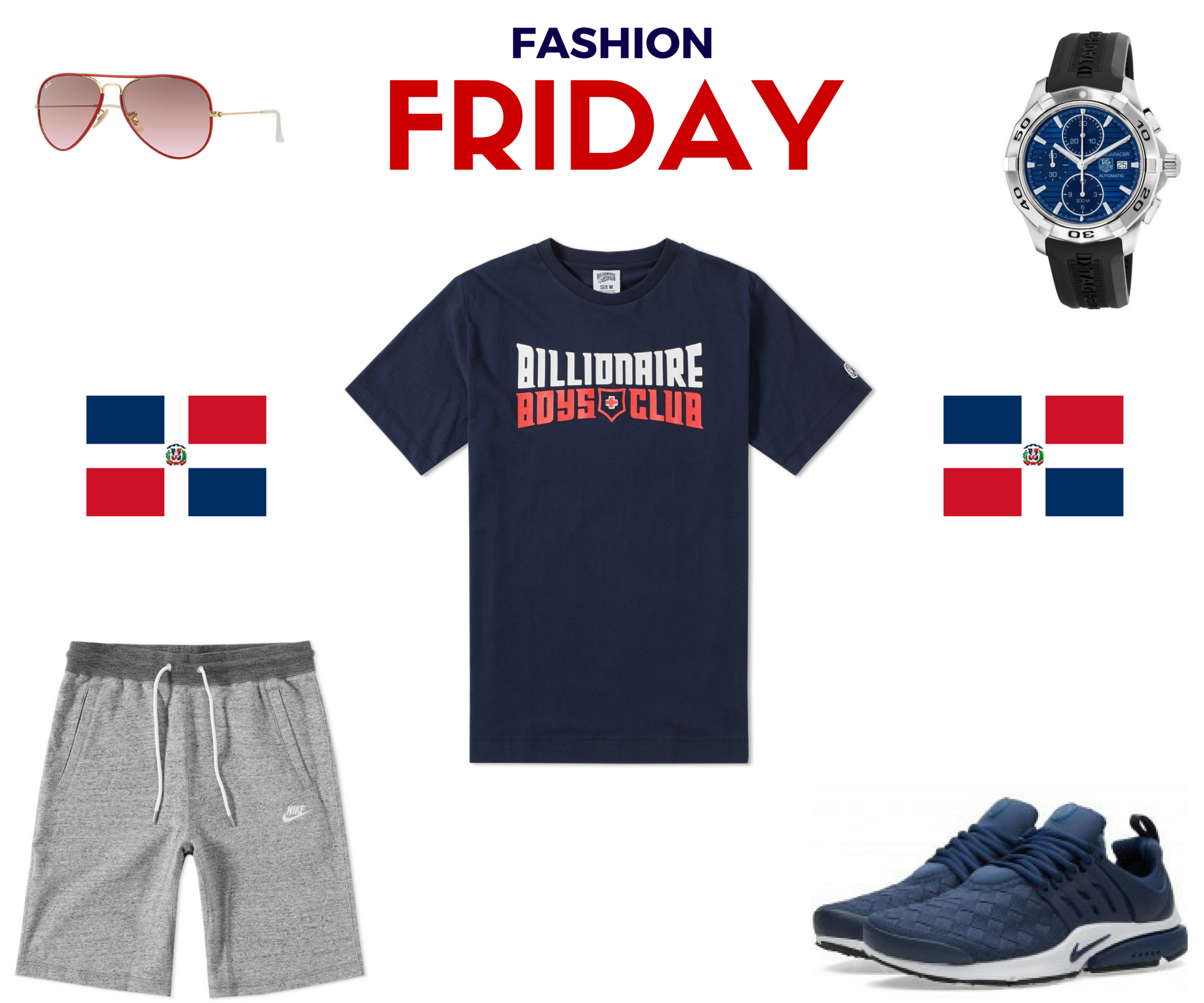 Thank God it's Friday!  This week we congratulate Alex Rodriguez on an amazing Career. Today Alex will play in his last game with the New York Yankees. Alex is 4 Home Runs short from becoming the 4th player in MLB History to reach The 700 Home Run Club! Good Luck and Gob Bless your family!   Ray Ban Sunglasses    BBC T-Shirt    Tag Heuer Watch    Nike Legacy Short    Nike Running Sneakers   By Danny Reyes  Photo By ARod
