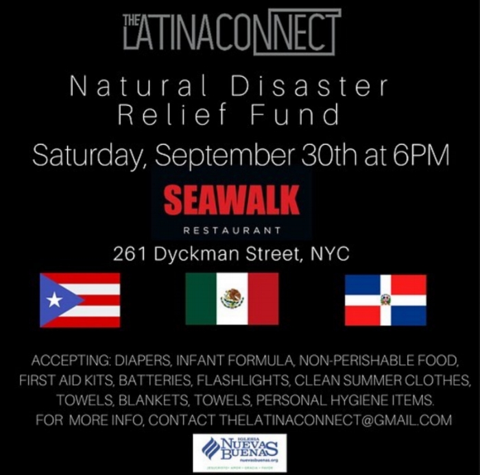 Our friend over at The Latina Connect is hosting a Natural Disaster Relief Fund, this Saturday. Uptown come out and show your support..