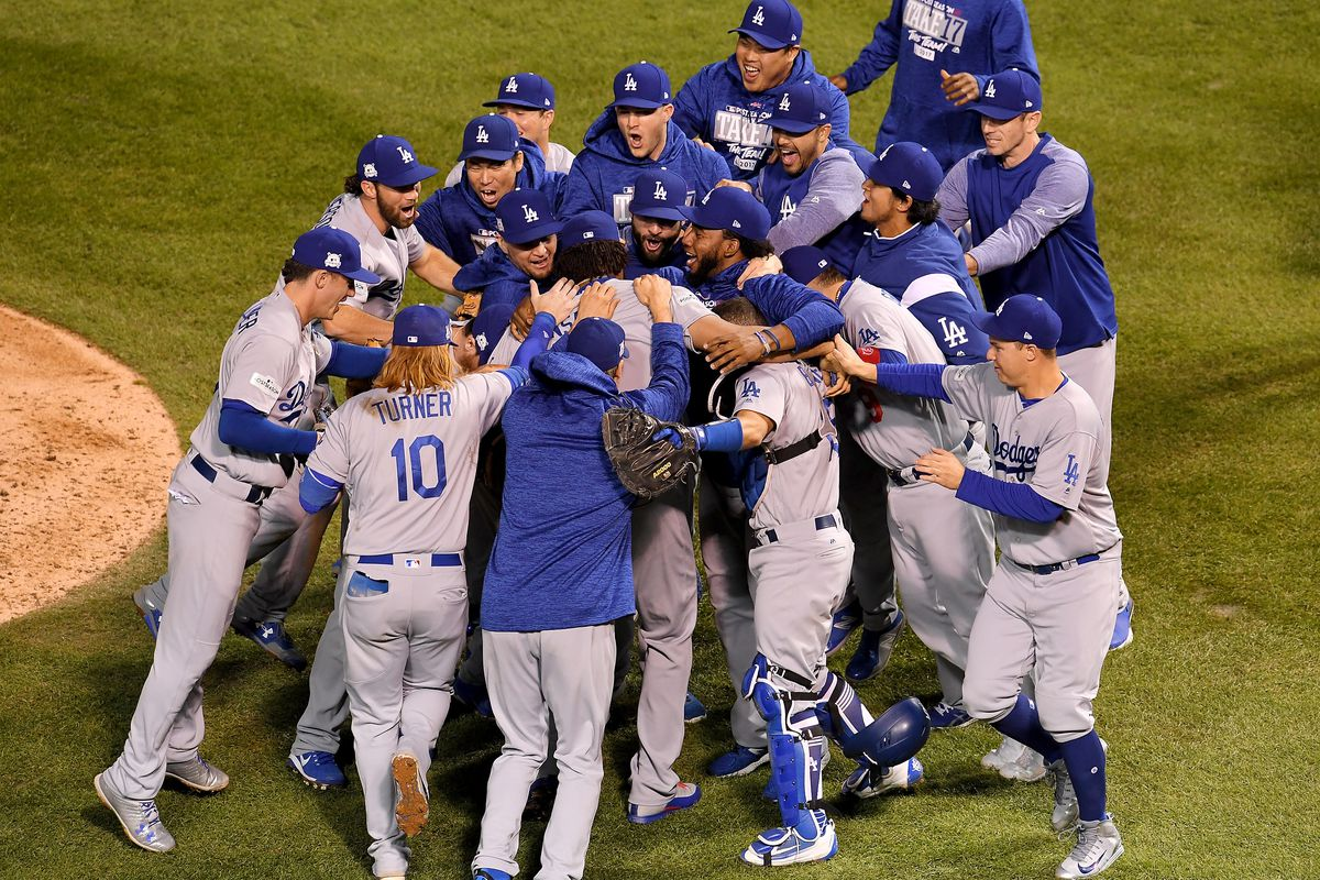 The LA Dodgers Celebrating their first NLCS win since 1988