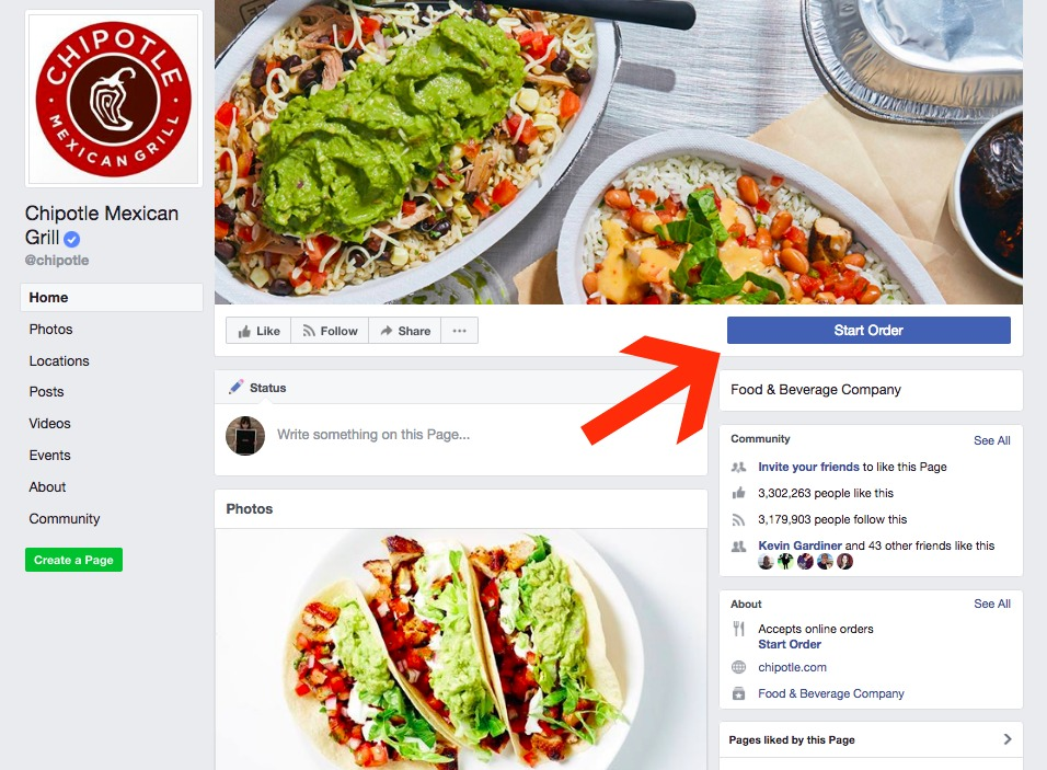 Chipotle Facebook page