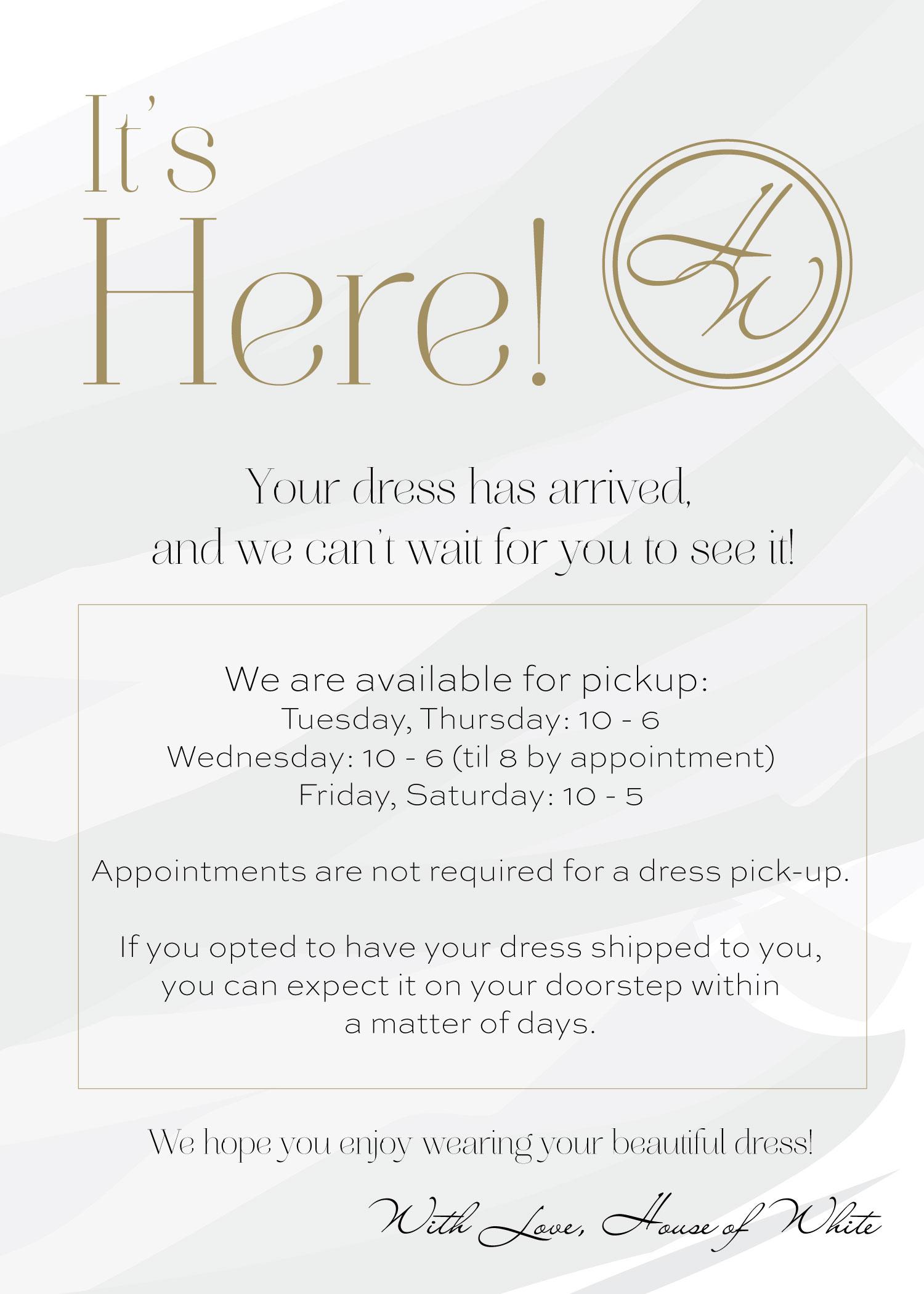 Bridesmaid Dress arrival notice.jpg