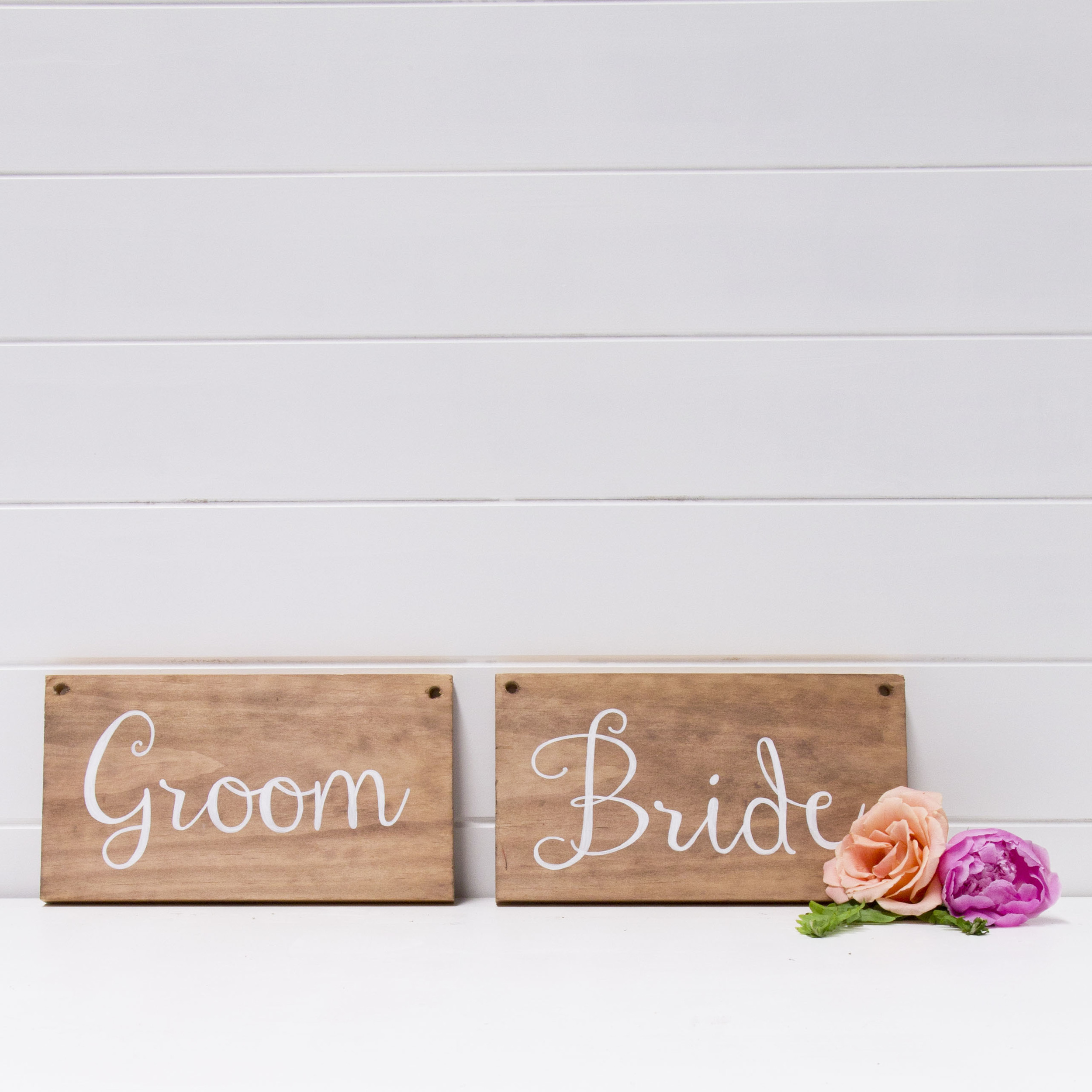 BRIDE AND GROOM WOODEN SIGNS QTY: 2