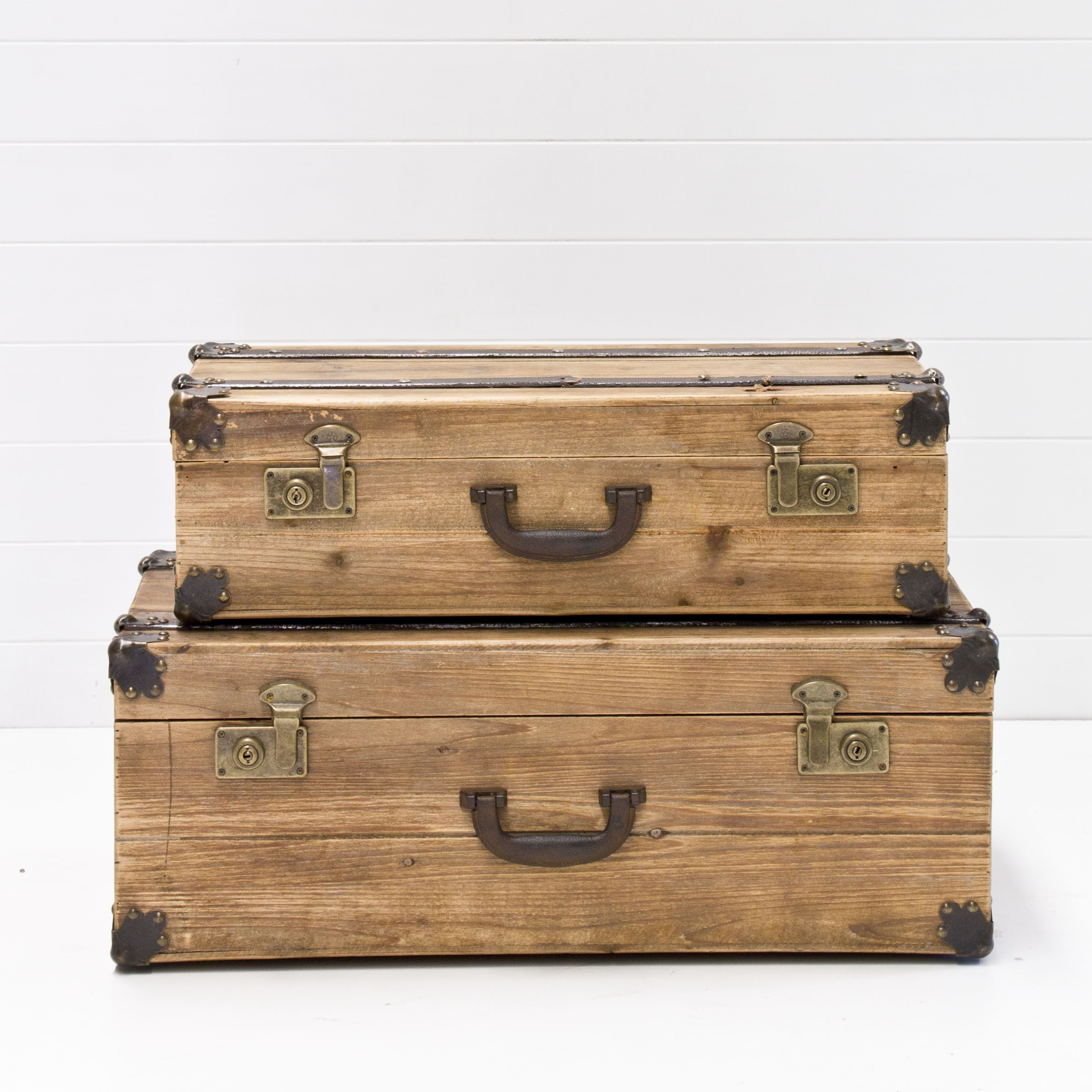 Pair Of Wooden Trunks