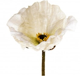 White Poppy Stem Fake Flower